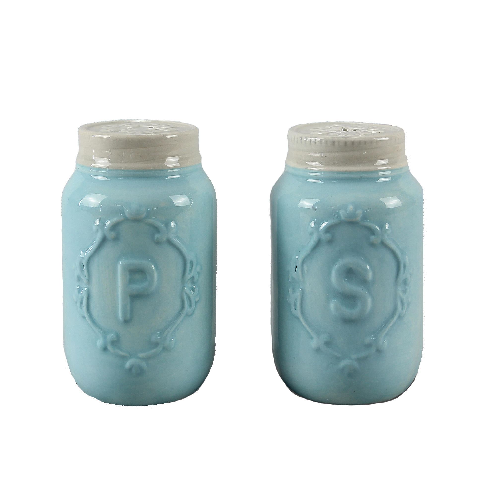 Blue Mason Jar Salt & Pepper Shakers by ZallZo 5704363e8e3d6f97398b4727