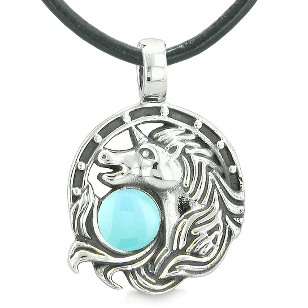 Unicorn Amulet Lucky Charm Horse Shoe Magic Baby Blue Circle Pendant Leather Necklace