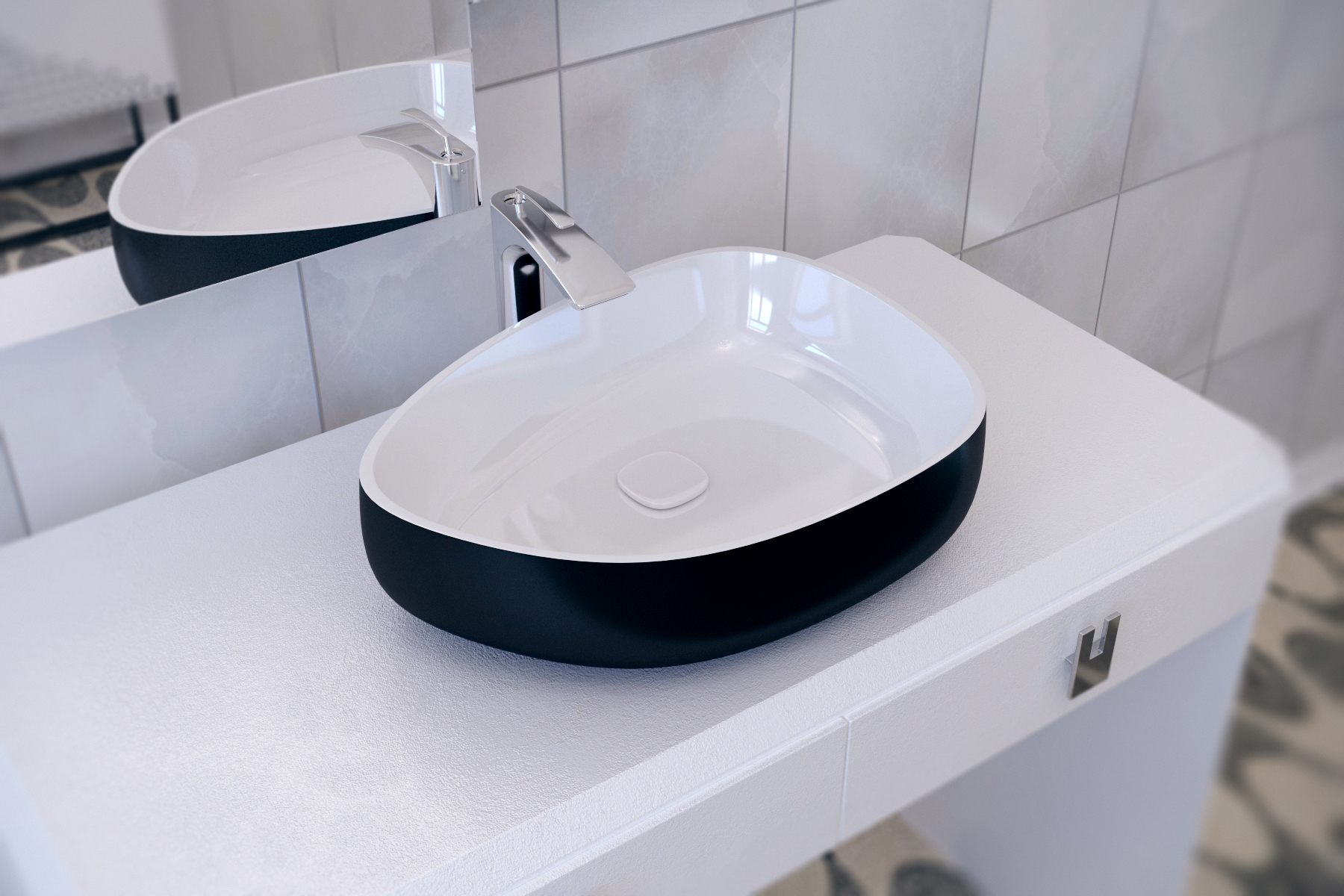 Metamorfosi-black-wht Shapeless Ceramic Bathroom Vessel Sink