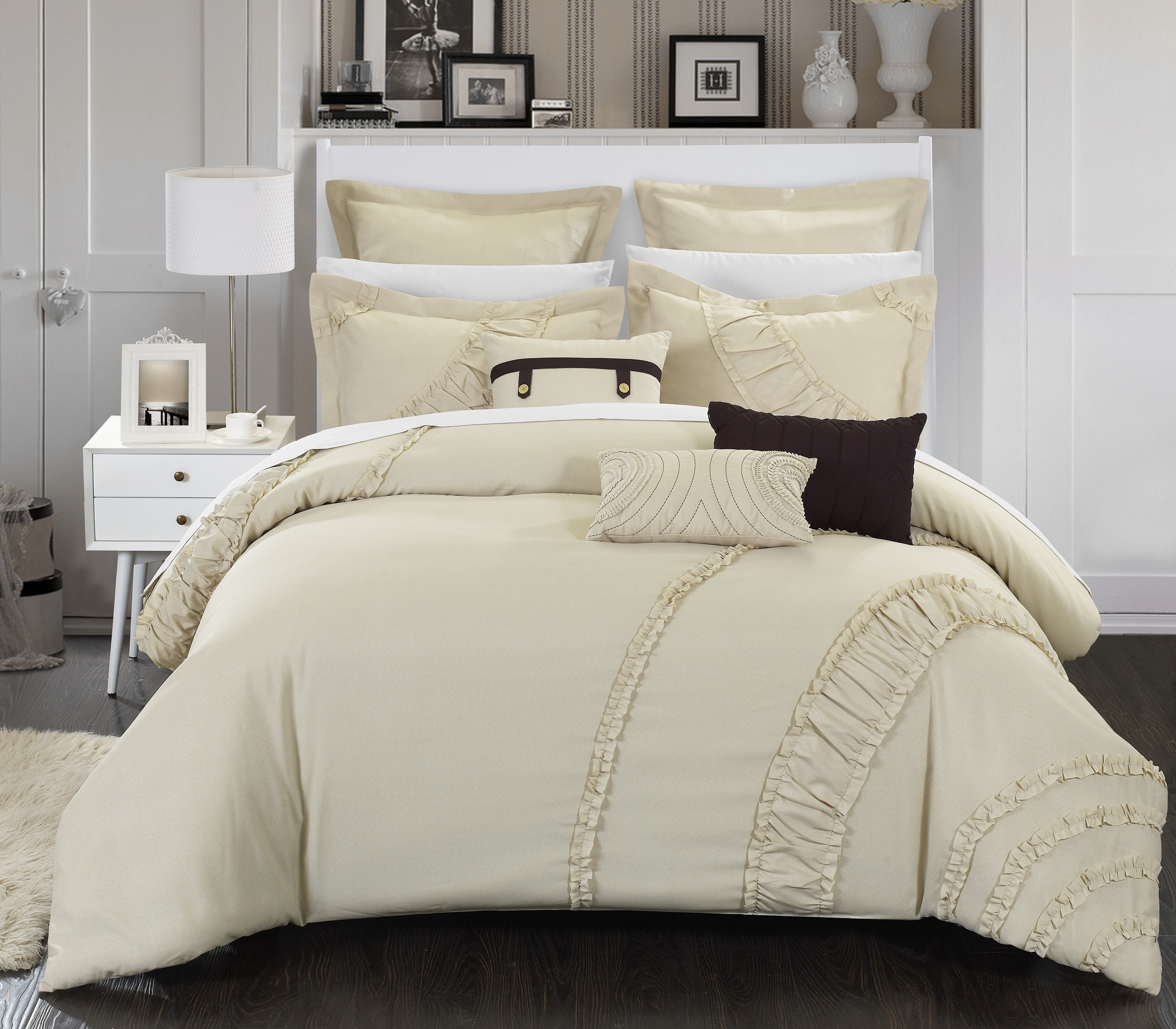 Chic Home 8 Piece Lucerne New Faux Linen Fabric Collection Oversized And Overfilled Embroidered Comforter Set - Queen, Beige