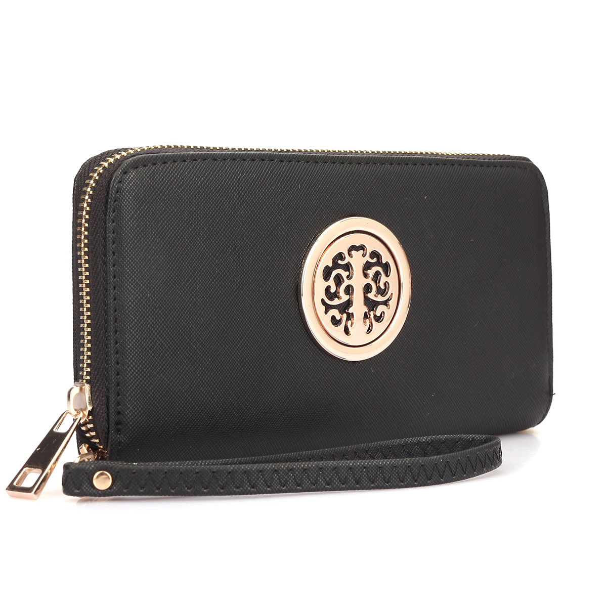 Dasein Zip Around Emblem Wallet Purse - Black photo