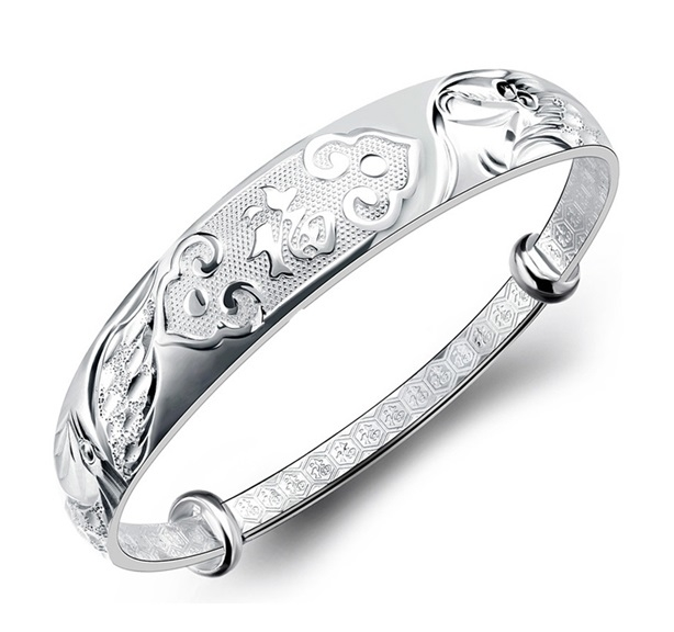 S999_silver_bracelets_sterling_silver_female_Old_Phoenix_silver_Bangle