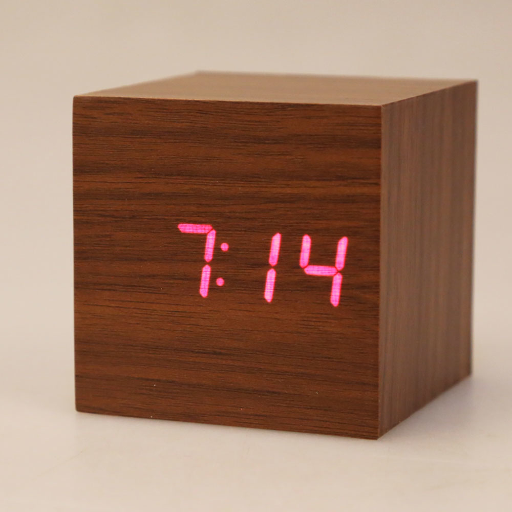 Wooden Cube Usb/aaa Style Voice Digital Alarm Clock Led Display - Black