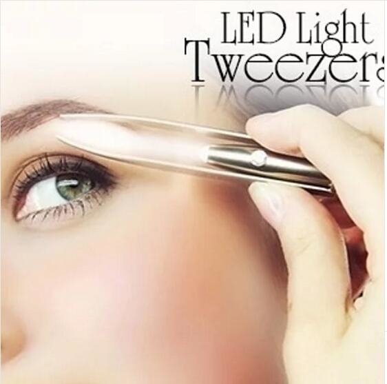 Stainless Steel Make Up Eyelash Eyebrow Removal Tweezer With LED Light 5774bed86b3d6f00188b51c8