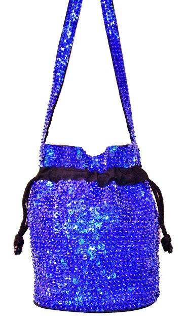 Sequin Beaded Drawstring Evening Bag Purse ROYAL BLUE (SEQUINW-AA51) photo