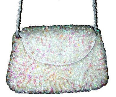 Sequin Beaded Purse OPAL WHITE # SP14 (SEQUINW-CEDE) photo