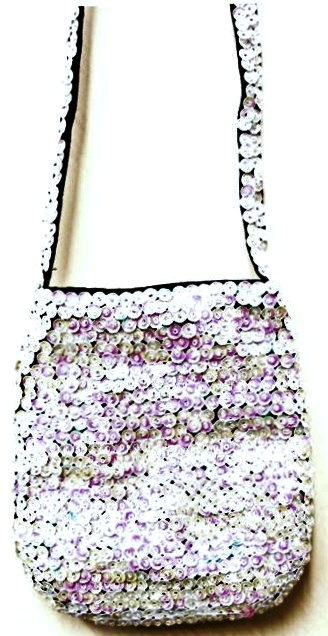 Sequin Beaded Purse OPAL WHITE # SP31 (SEQUINW-EACE) photo