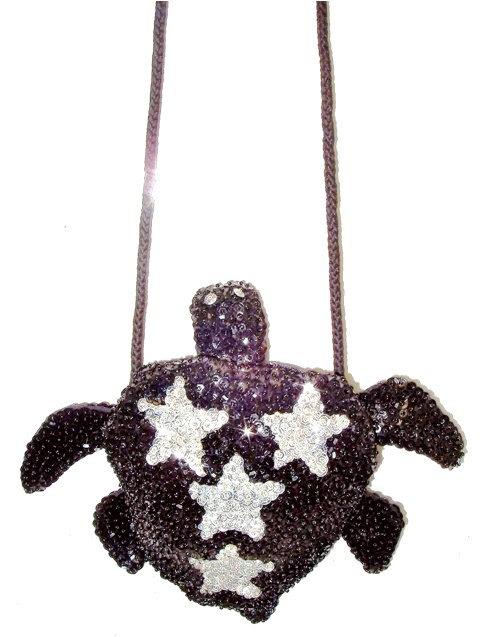 Sequin Beaded Purse TURTLE Shape Black w/Silver Stars (SEQUINW-B47E) photo