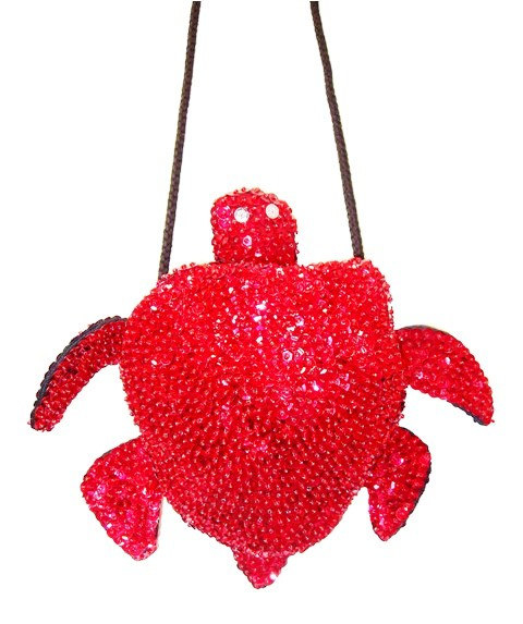 Sequin Beaded Purse TURTLE Shape RED (SEQUINW-A5DC) photo