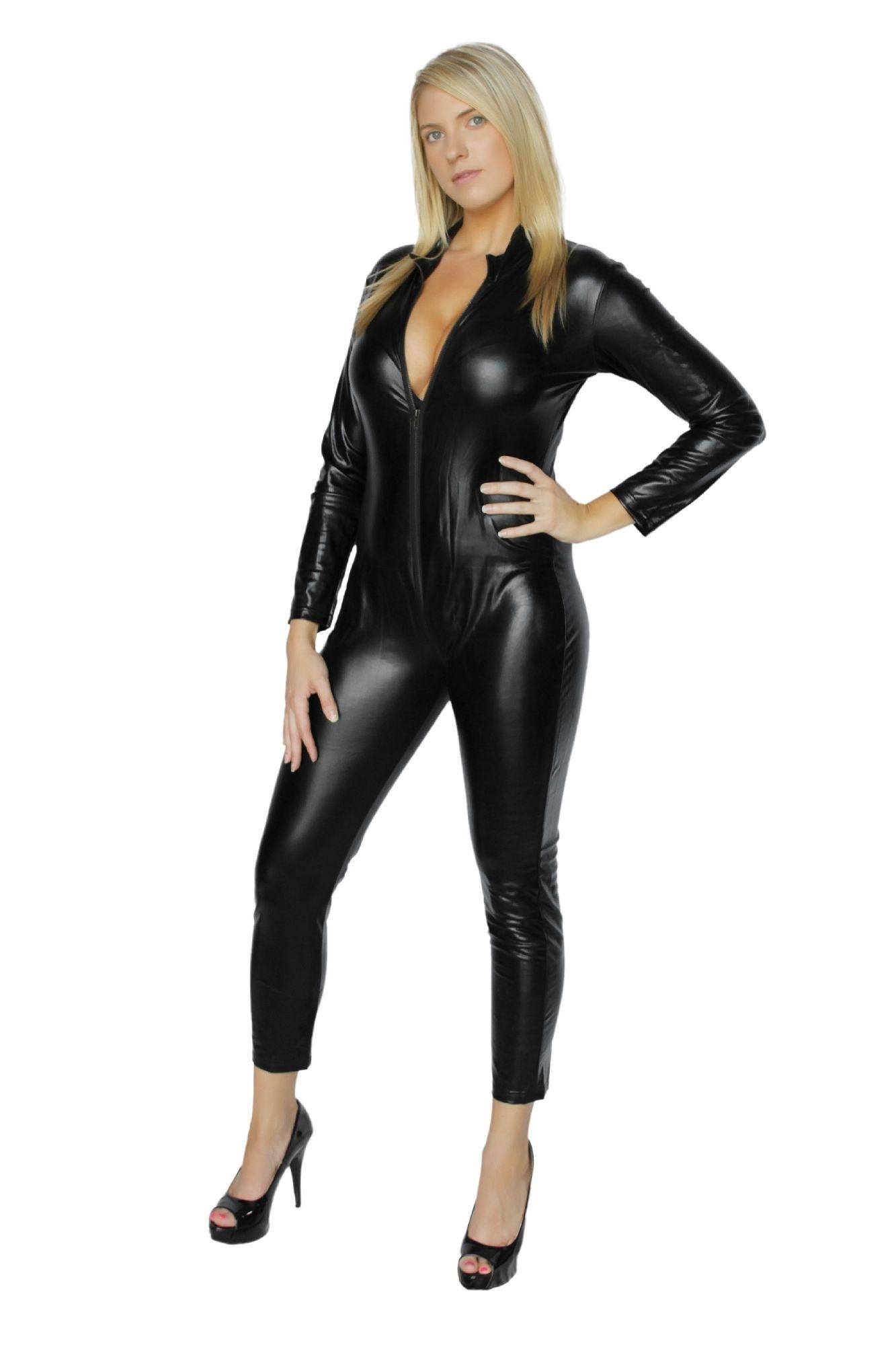 Flirtzy Shinny Wet Look Black Catsuit Four Way Zipper Closure (12884) - black, m 578e620fe22461540117fe2a