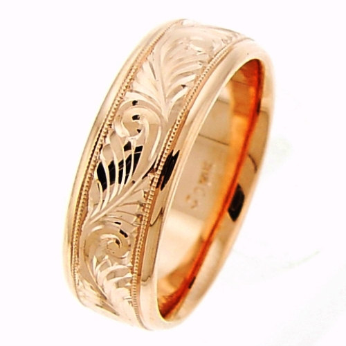 14K_Rose_Gold_Hand_Engraved_Wedding_Ring_Band,_For_the_Bride_and_Groom