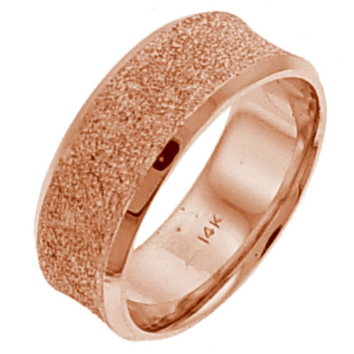 14K_Pink_Gold_Glitter_Like_Finish_Wedding_Ring_Band,_For_the_Bride_and
