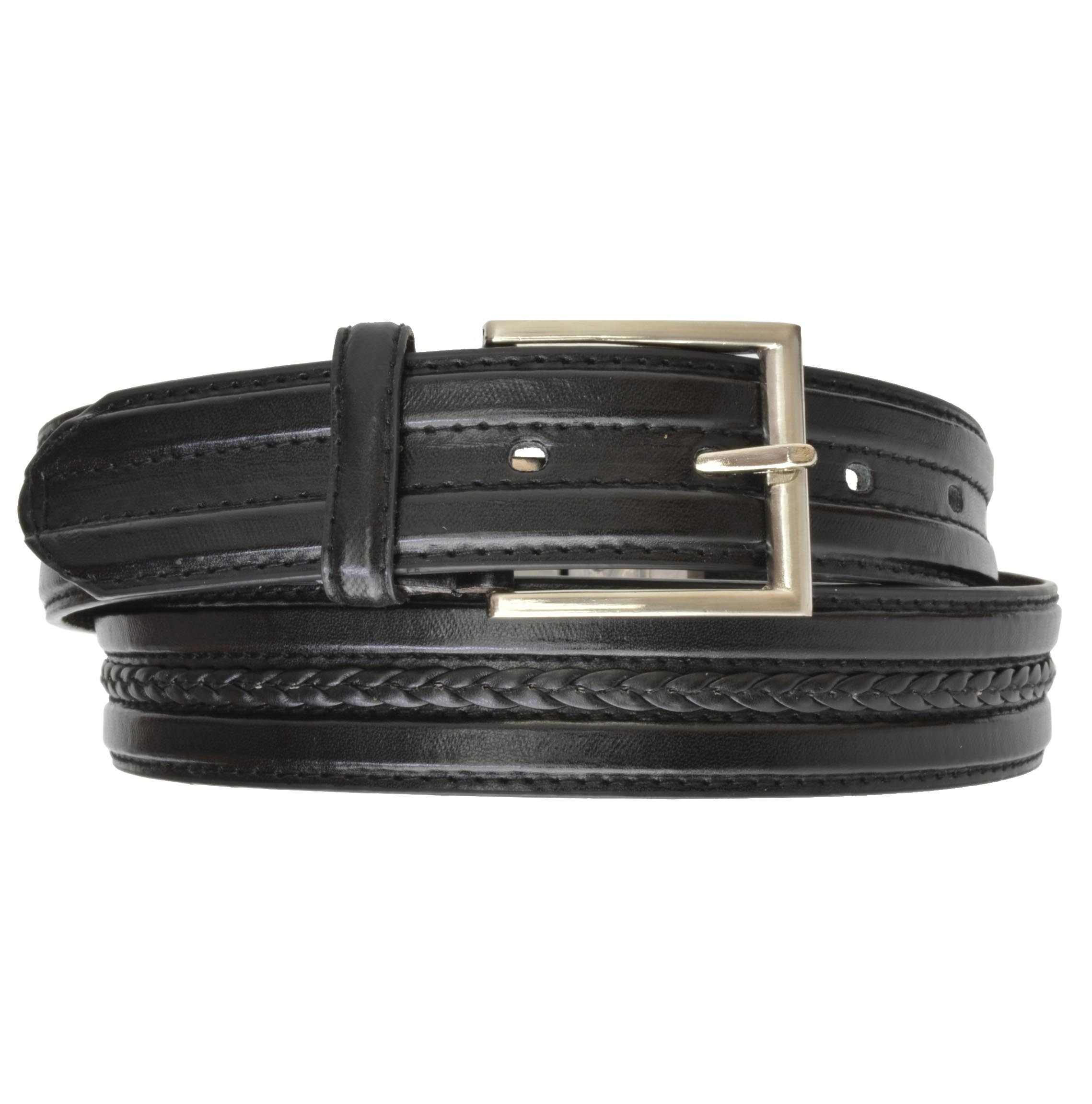 AFONiE Black weave Leather Belt with Buckle for Men - Small 57ac985b469fe23fe127f854