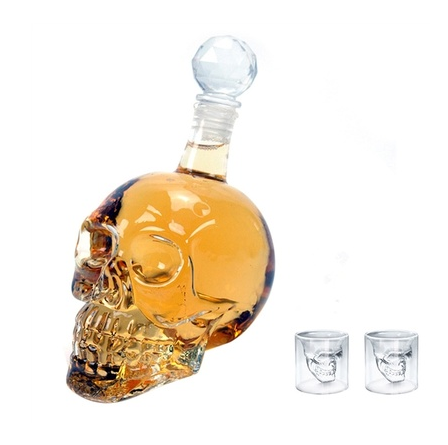 500Ml Crystal Head Vodka Bottle and Two Crystal Skull Pirate Shot Glass Drink Cocktail Beer Cups Set (Color: Transparent) 57dee0aa6d88eb1cff0fe31d