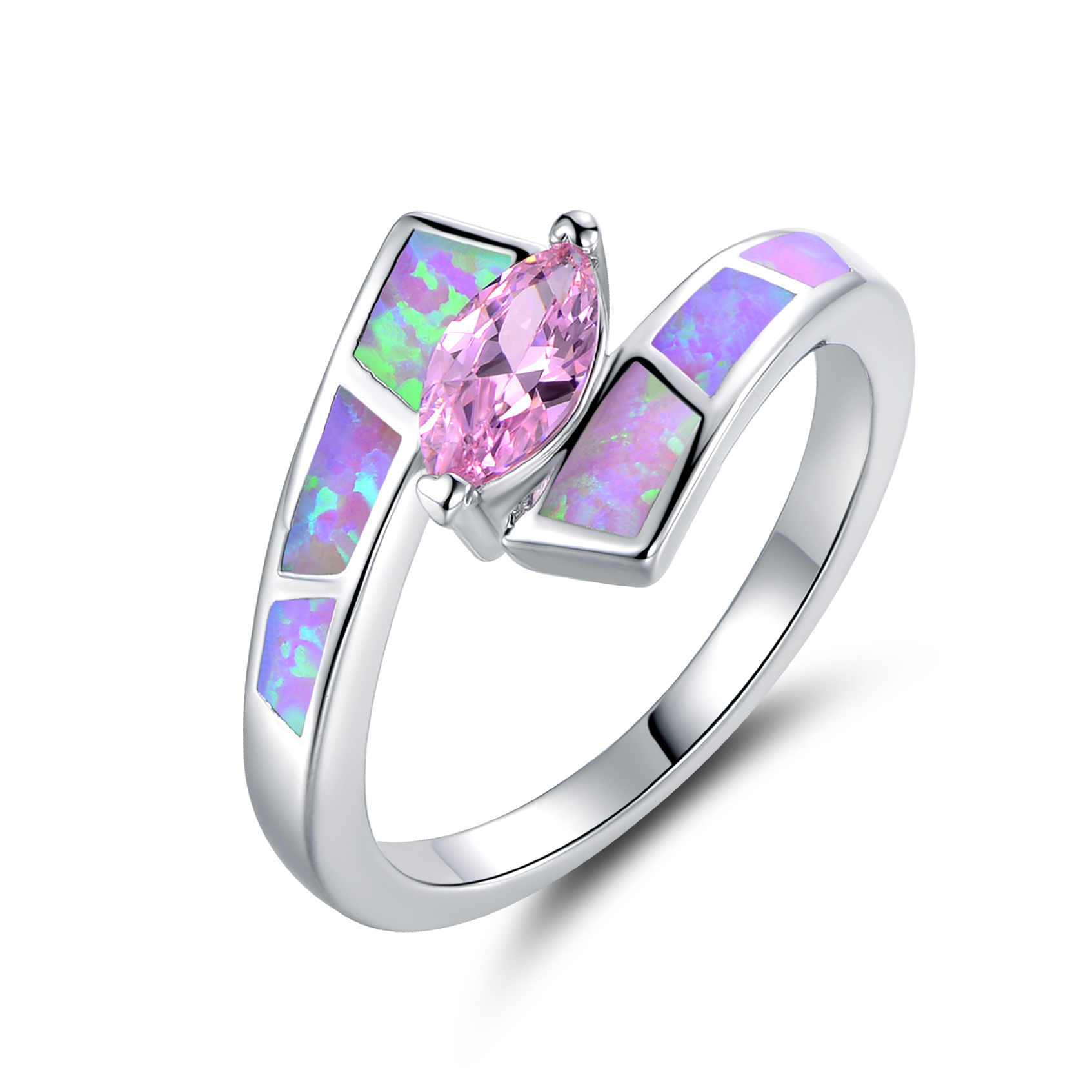 Rose Pink Crystal 18K White Gold Plated Infinity Ring Clear Cubic Zirconia UK