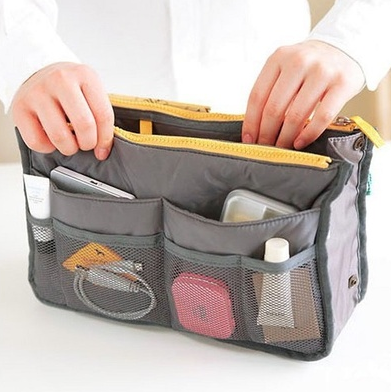 Practical Handbag Purse Nylon Dual Organizer Insert Cosmetic Storage Bag (BALABAL-8F2C) photo