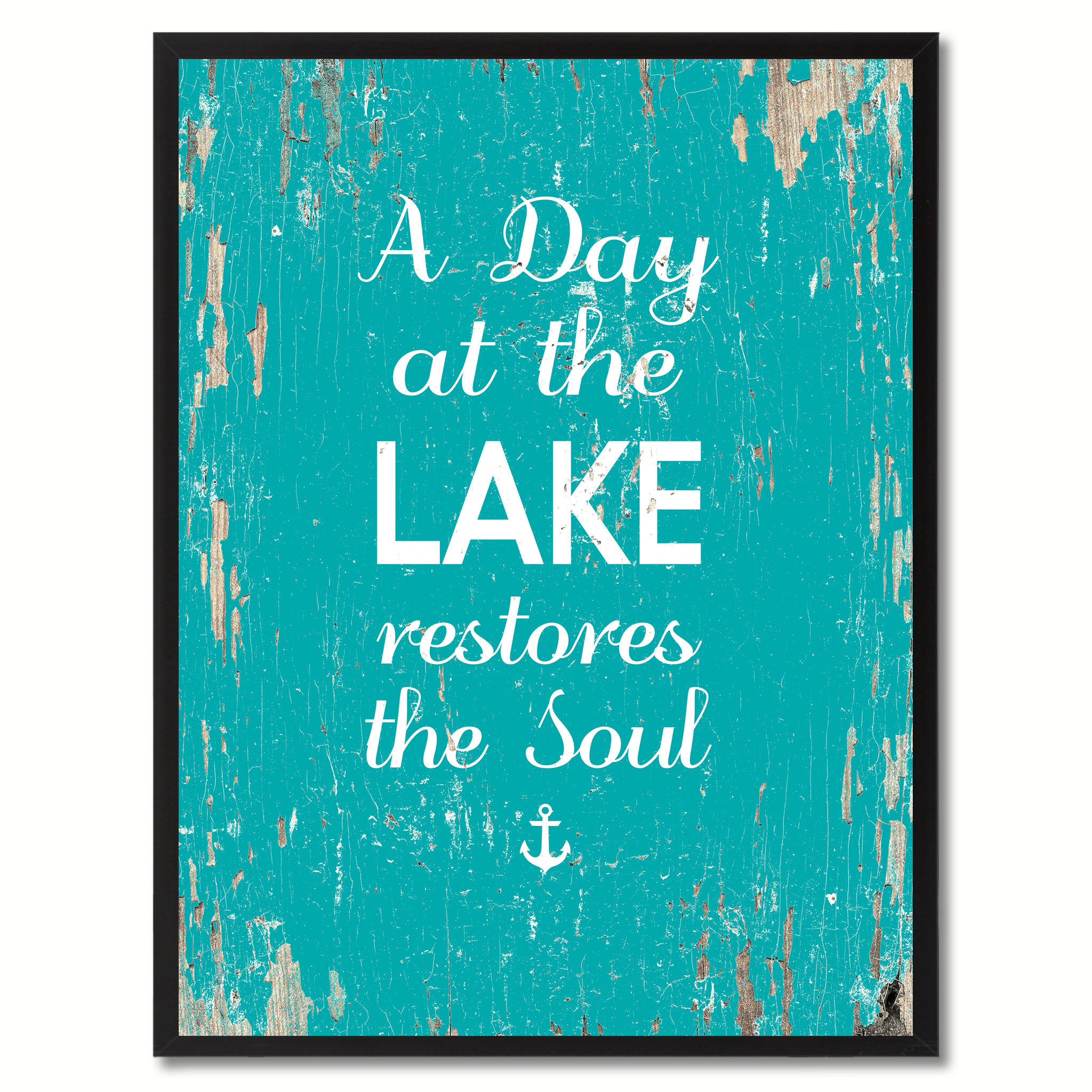 "A Day At The Lake Restores The Soul Saying Canvas Print with Picture Frame Home Decor Wall Art Gifts - 7""x9\"""