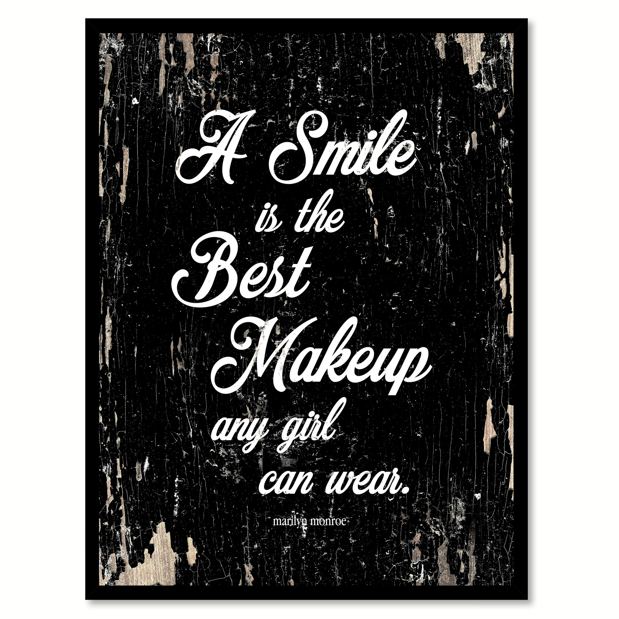 "A Smile Is The Best Makeup Marilyn Monroe Quote Saying Canvas Print with Picture Frame Home Decor Wall Art Gifts 111936 - 7""x9\"""