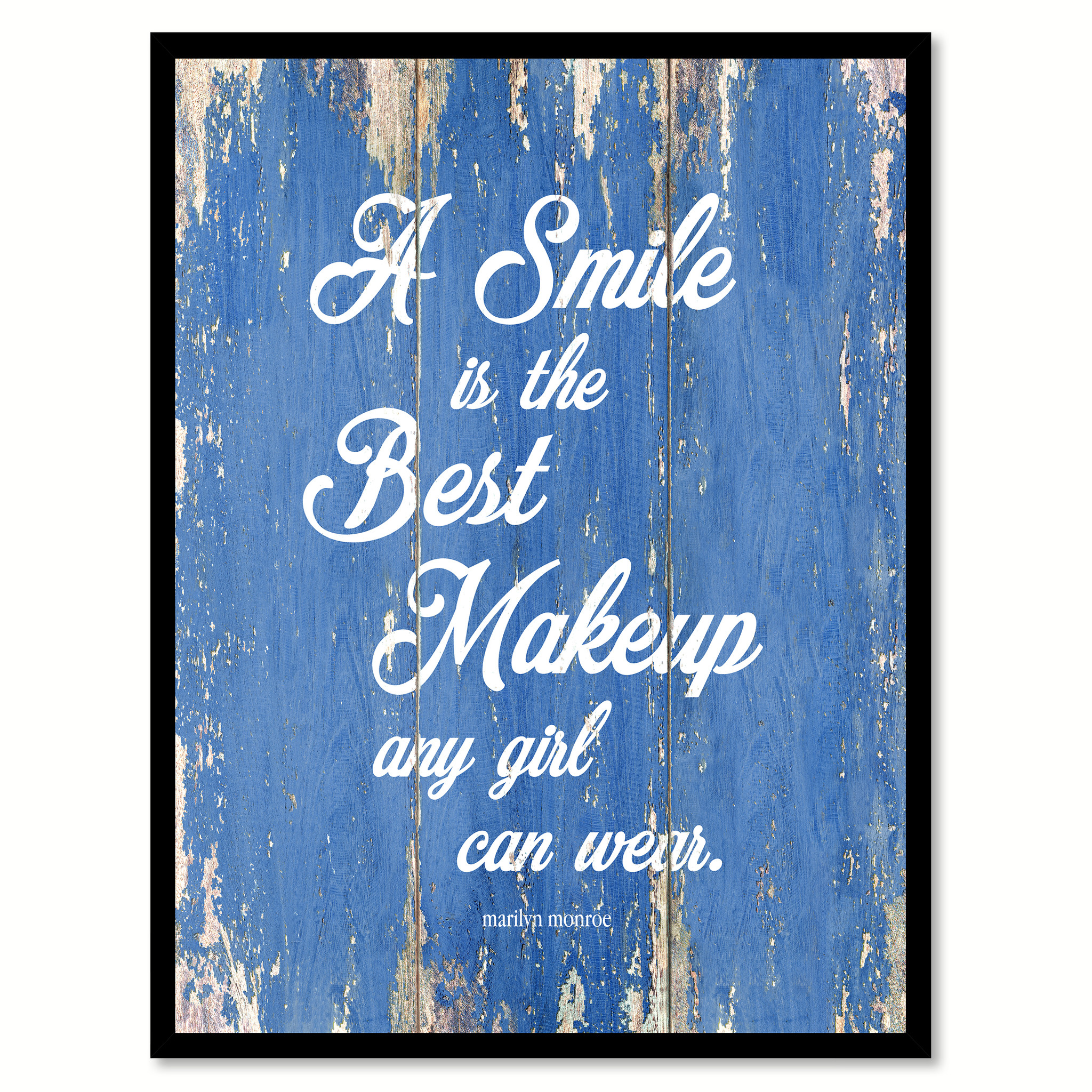 "A Smile Is The Best Makeup Marilyn Monroe Quote Saying Canvas Print with Picture Frame Home Decor Wall Art Gifts 121744 - 7""x9\"""