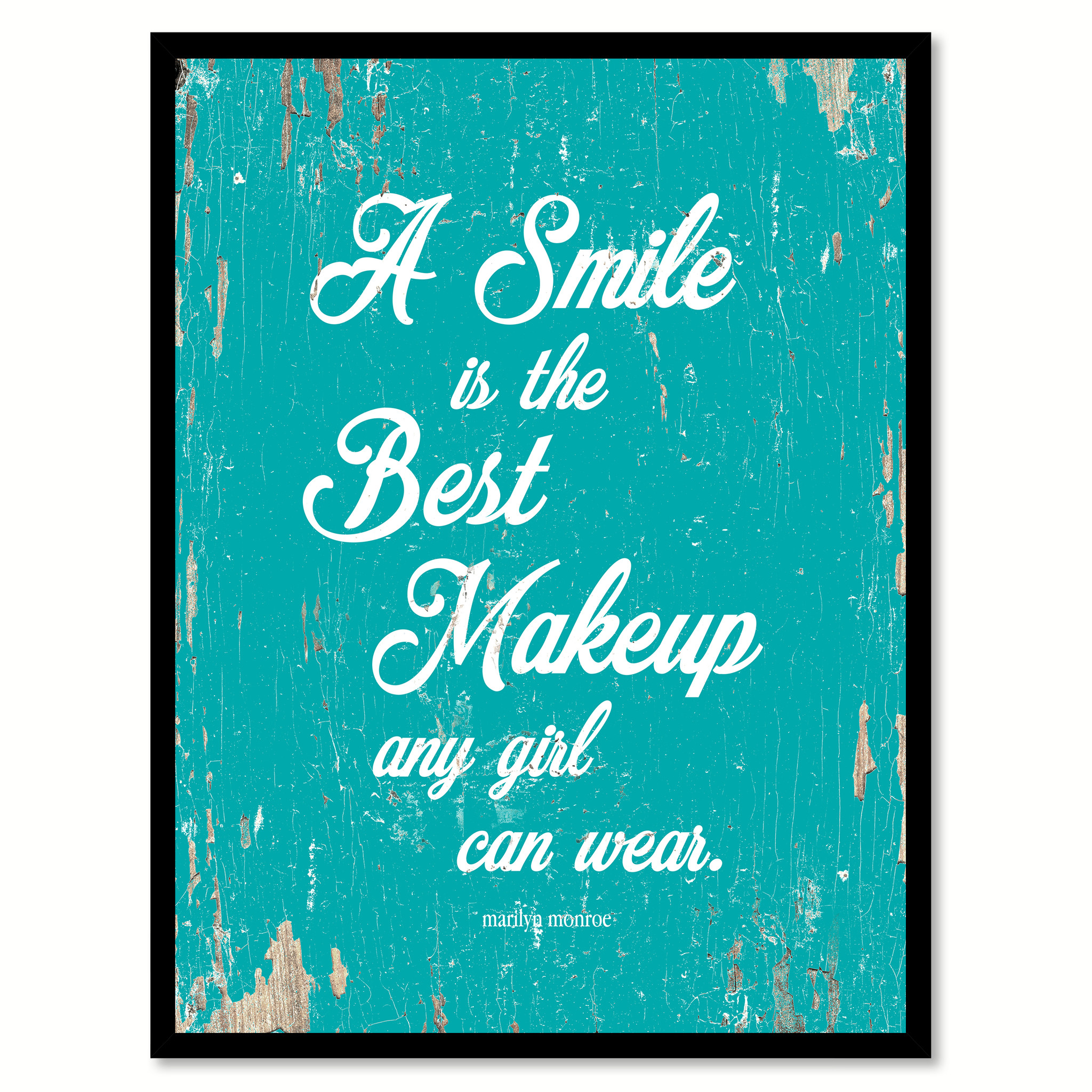 "A Smile Is The Best Makeup Any Girl Can Wear - Marilyn Monroe Saying Canvas Print with Picture Frame Home Decor Wall Art Gifts - 7""x9\"""