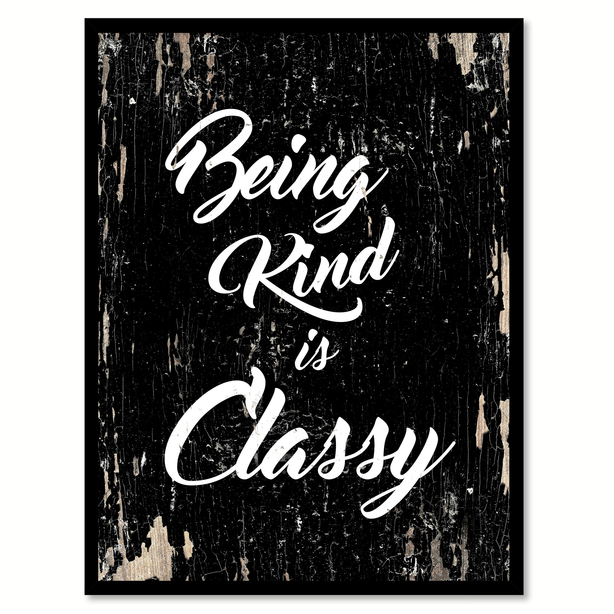 "Being Kind Is Classy Motivation Saying Canvas Print with Picture Frame Home Decor Wall Art Gifts - 7""x9\"""