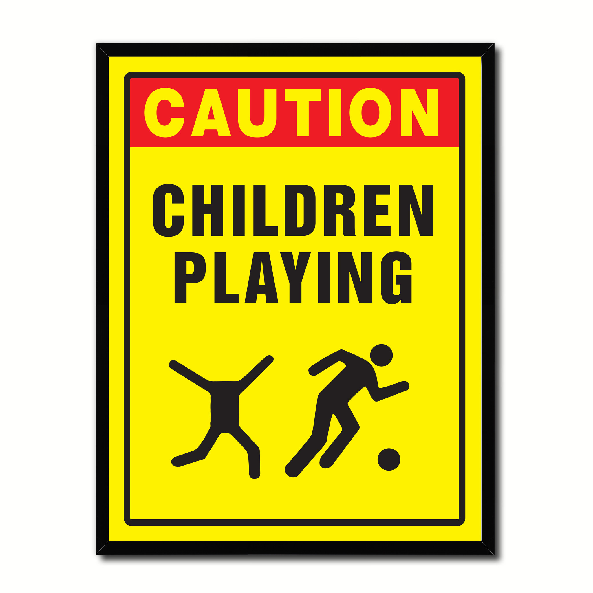 """Caution Children Playing Caution Sign Gift Ideas Wall Art Home D?cor Gift Ideas Canvas Pint - 7\""""x9\"""" 57f6c845e2246165175807f6"""