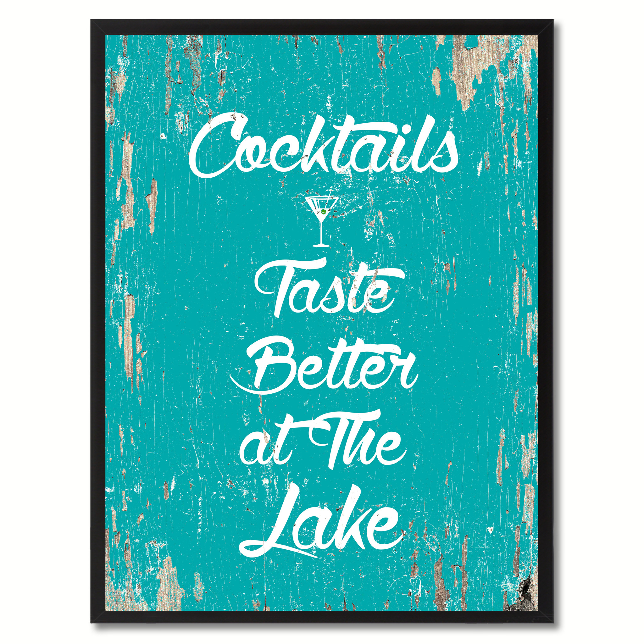 "Cocktails Taste Better At The Lake Saying Canvas Print with Picture Frame Home Decor Wall Art Gifts - 7""x9\"""