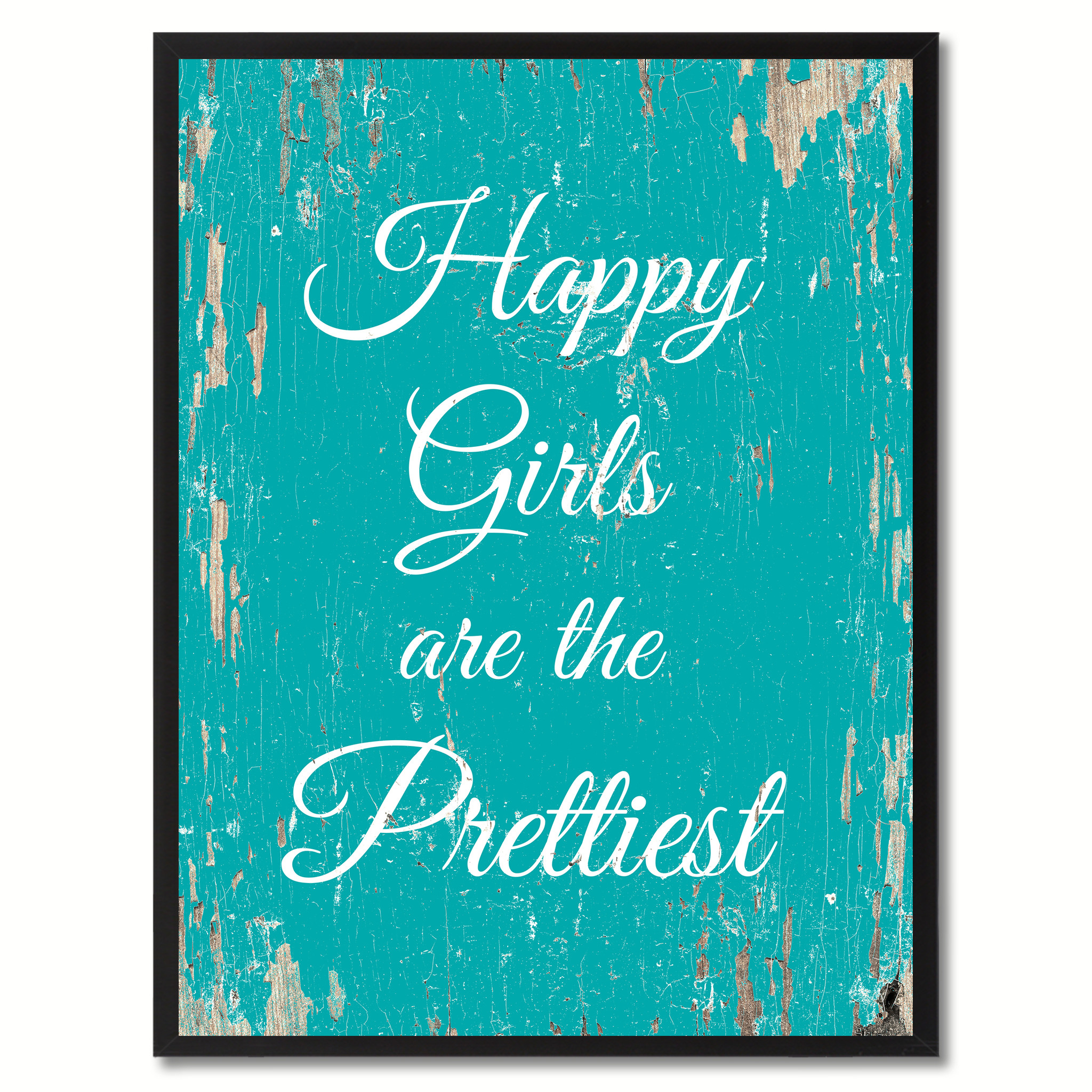 "Happy Girls Are The Prettiest Saying Canvas Print with Picture Frame Home Decor Wall Art Gifts - 7""x9\"""