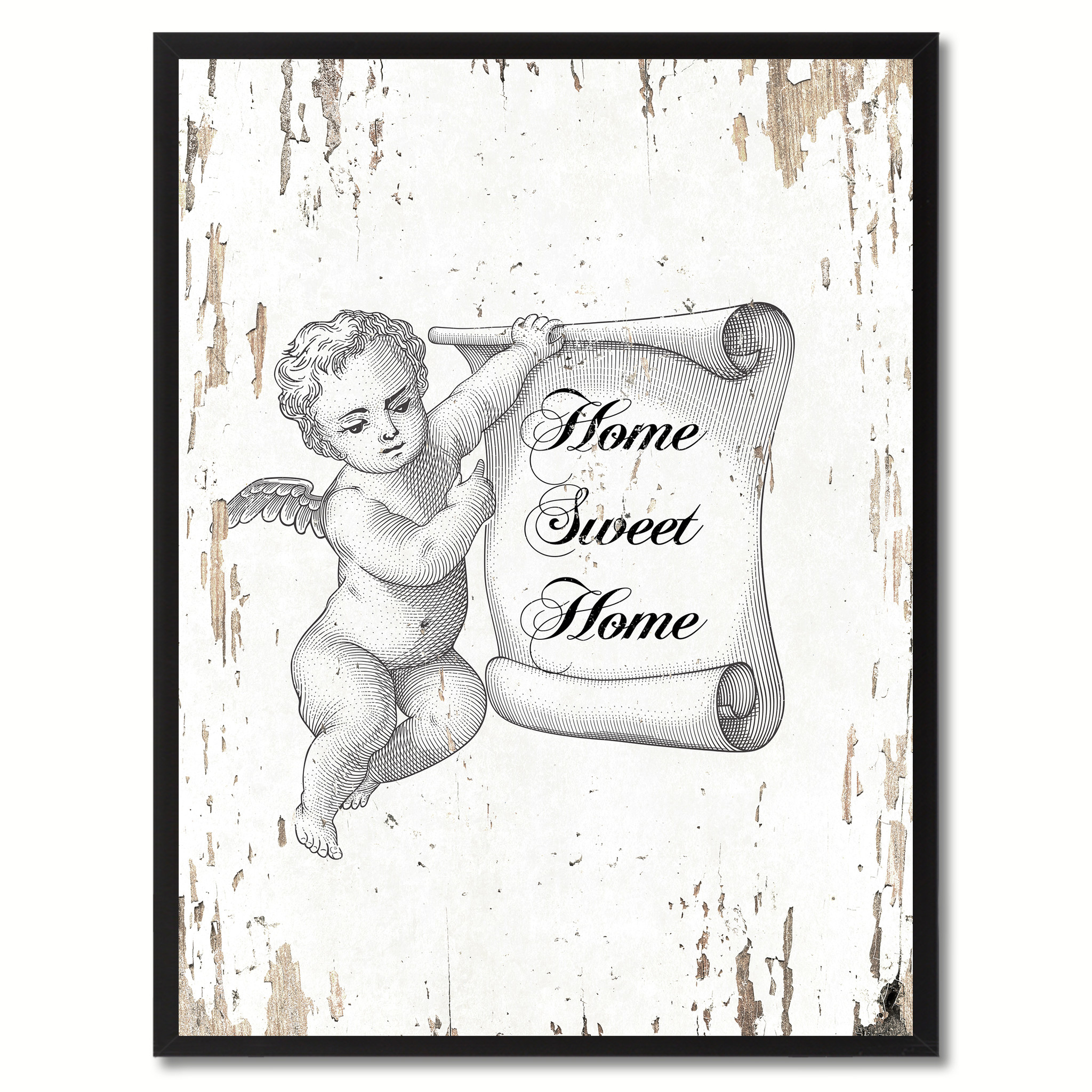 "Home Sweet Home Saying Canvas Print with Black Picture Frame Home Decor Wall Art Gifts 120076 - 7""x9\"""