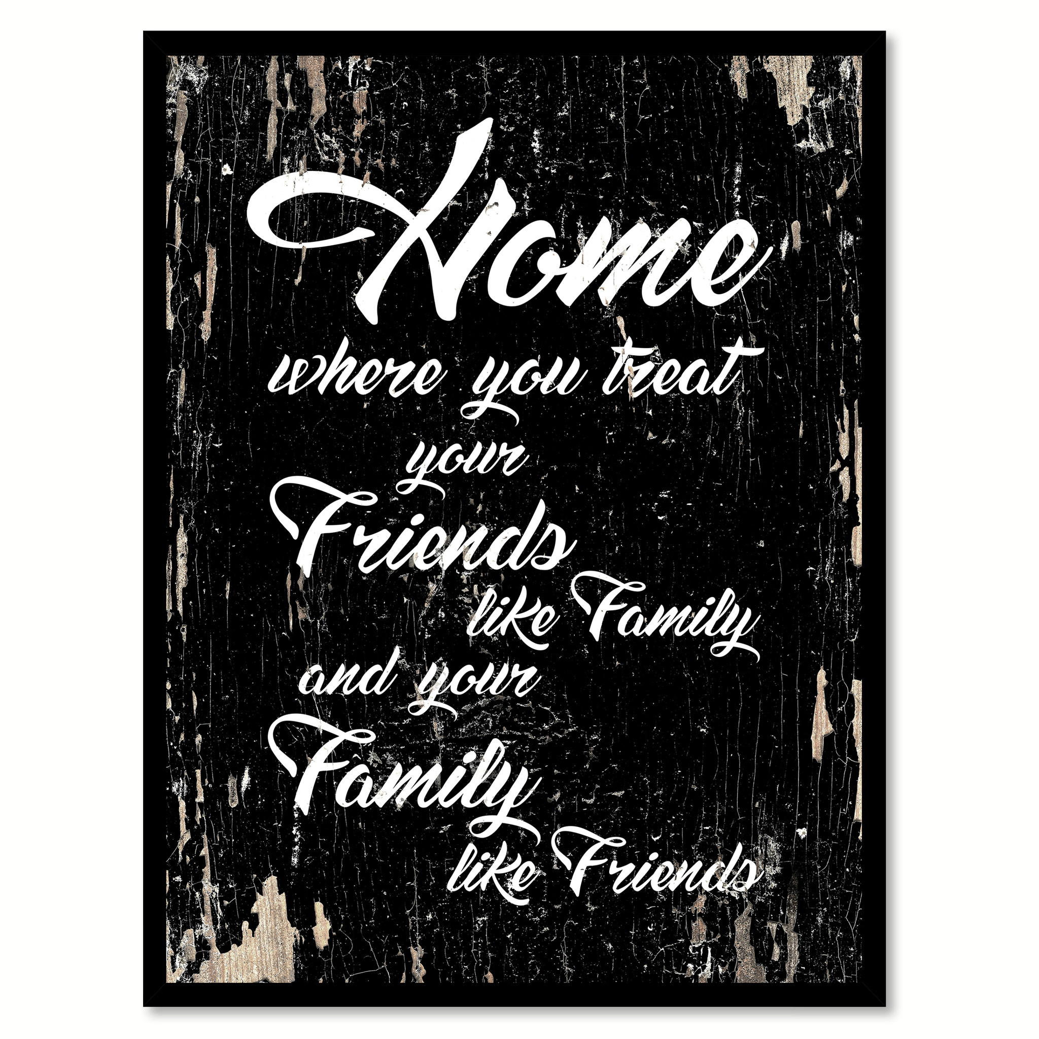"Home Where You Treat Your Friends Like Family Quote Saying Canvas Print with Picture Frame Home Decor Wall Art Gift Ideas 112037 - 7""x9\"""