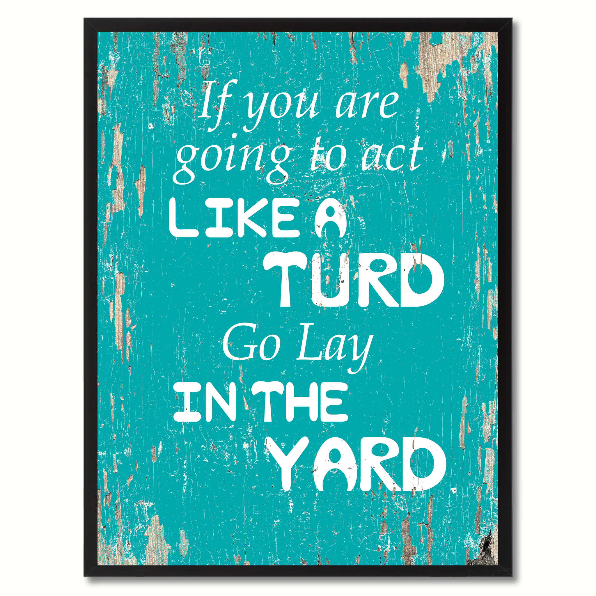 "If You Are Going To Act Like A Turd Go Lay In The Yard Saying Canvas Print with Picture Frame Home Decor Wall Art Gifts - 7""x9\"""