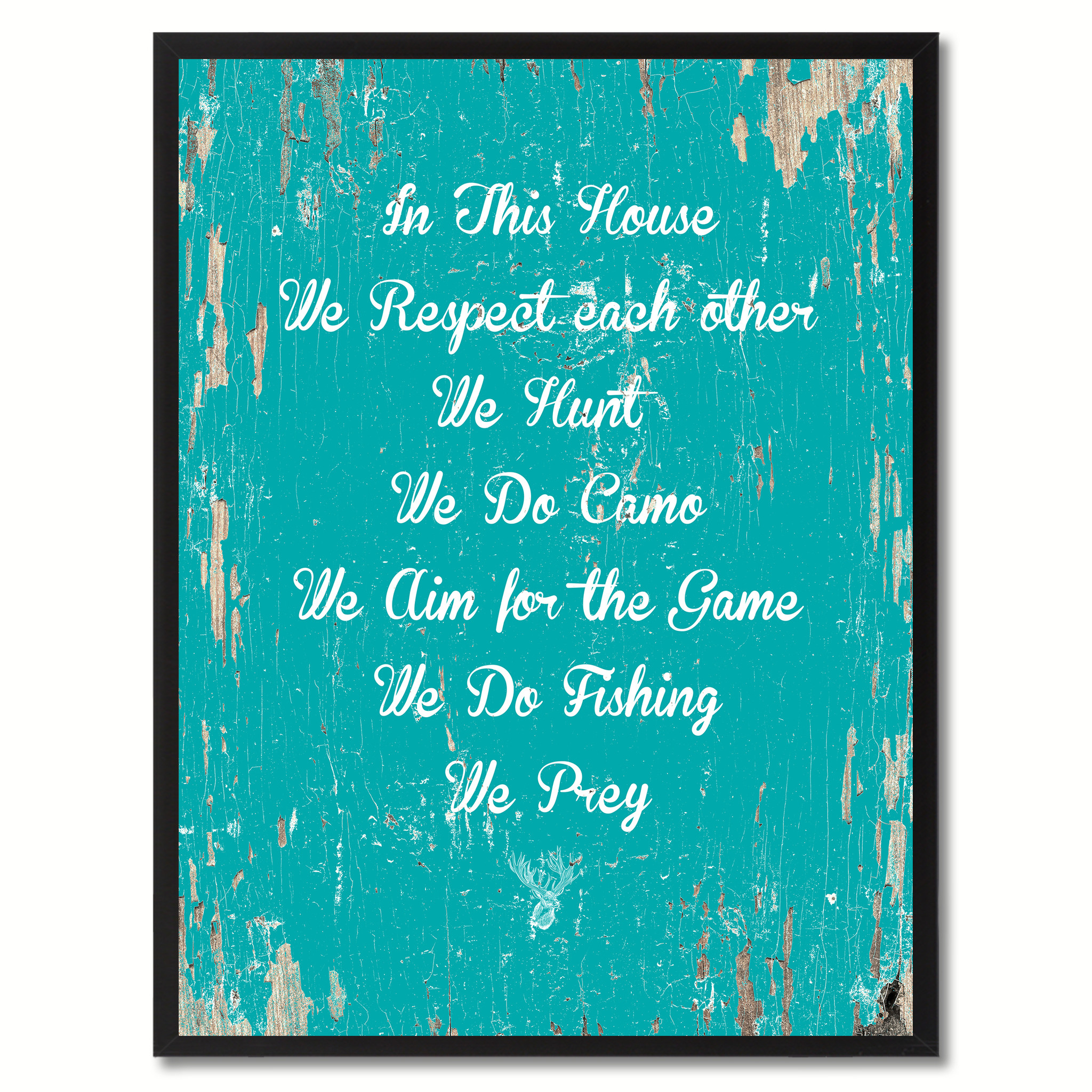 """In This House We Respect Each Other Saying Canvas Print, Black Picture Frame Home Decor Wall Art Gifts - 7\""""x9\"""""""