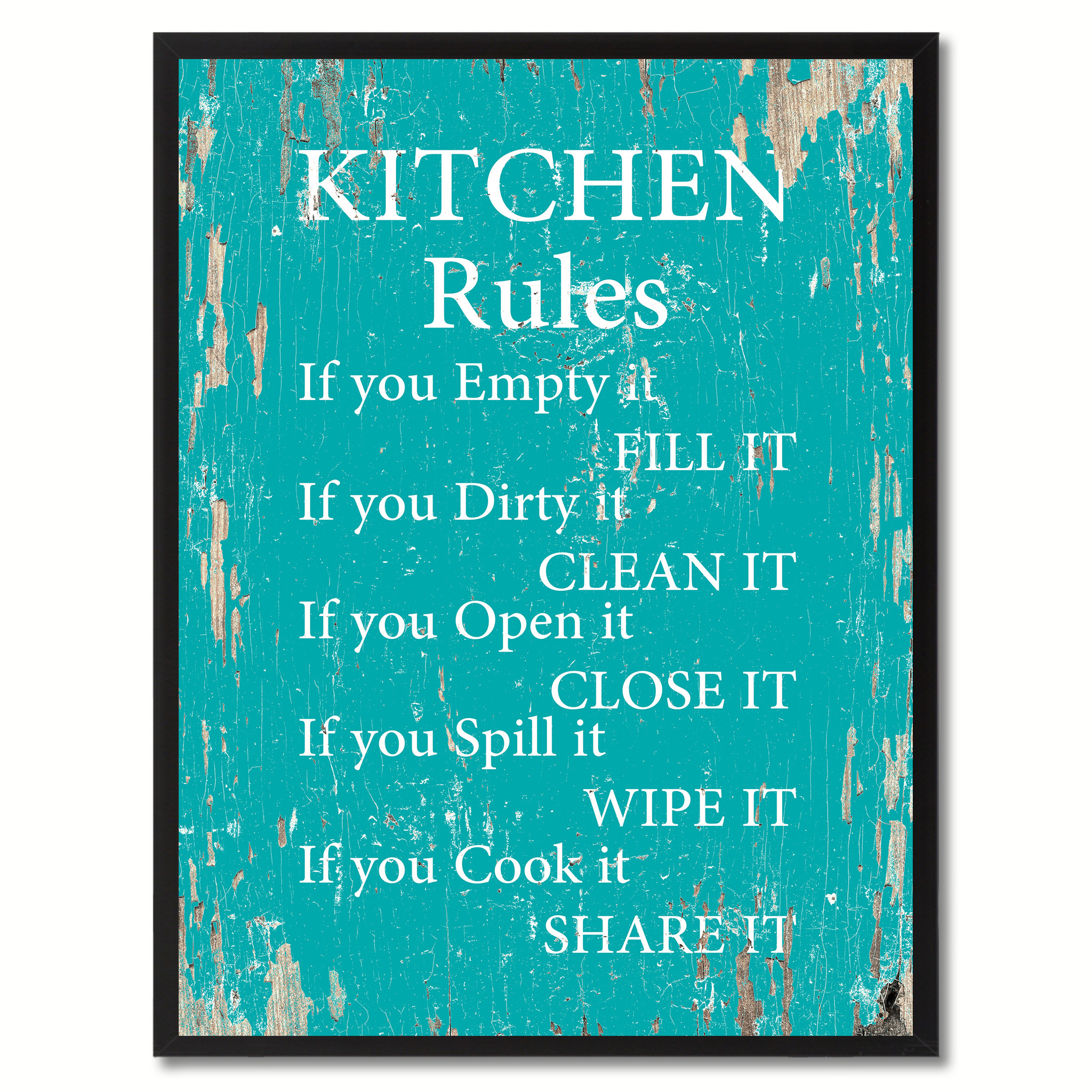 """Kitchen Rules Saying Canvas Print, Black Picture Frame Home Decor Wall Art Gifts - 7\""""x9\"""""""