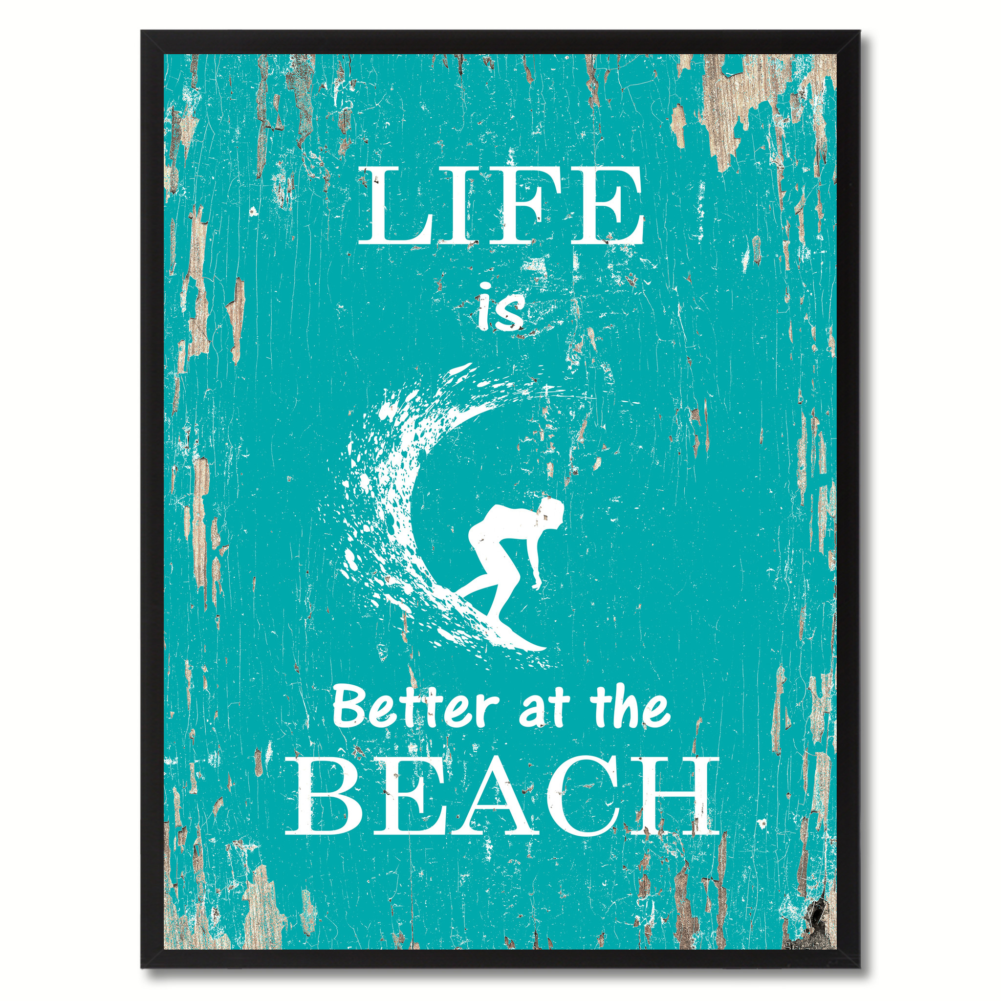 "Life Is Better At The Beach Saying Canvas Print, Black Picture Frame Home Decor Wall Art Gifts - 7""x9\"""