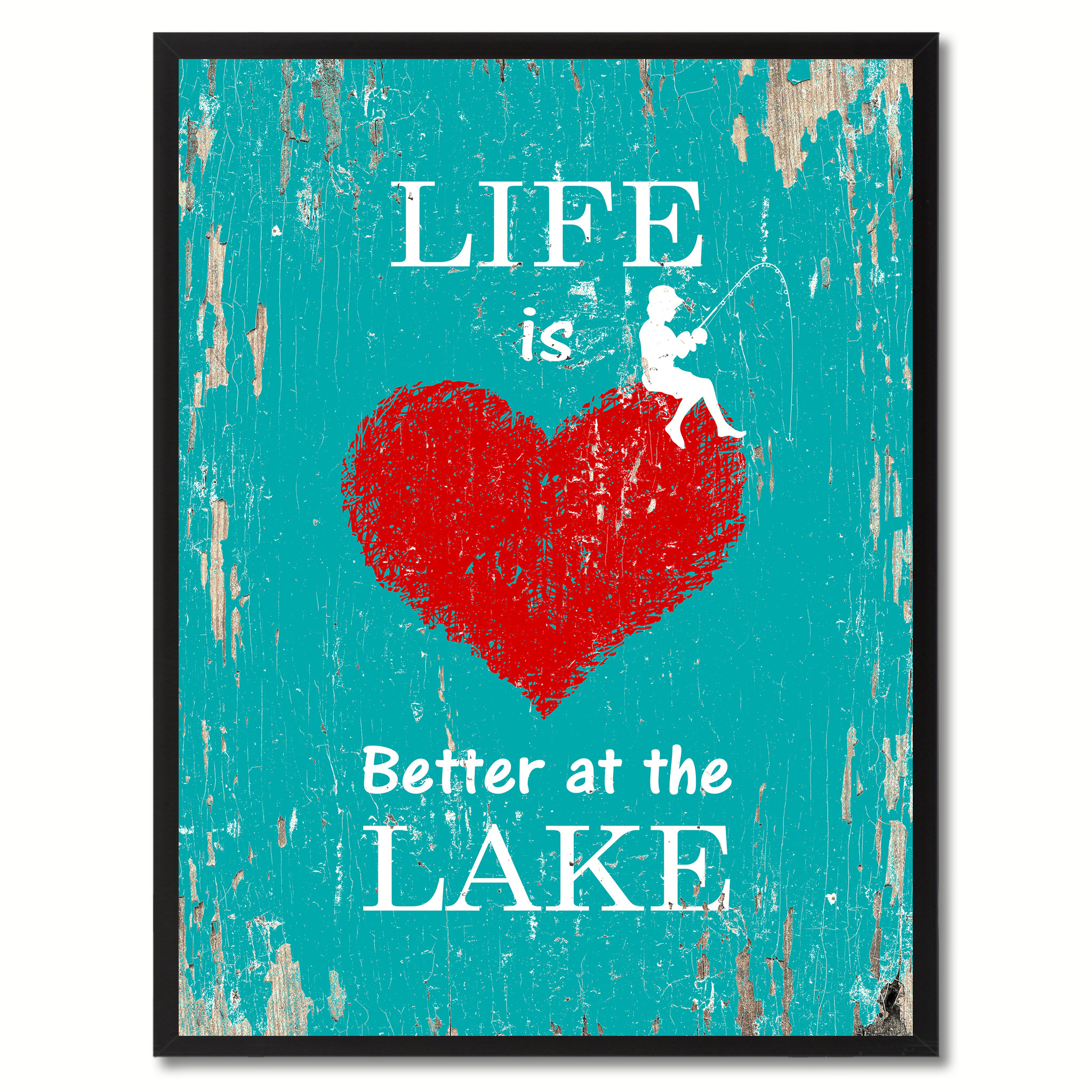 "Life Is Better At The Lake Saying Canvas Print, Black Picture Frame Home Decor Wall Art Gifts - 7""x9\"""