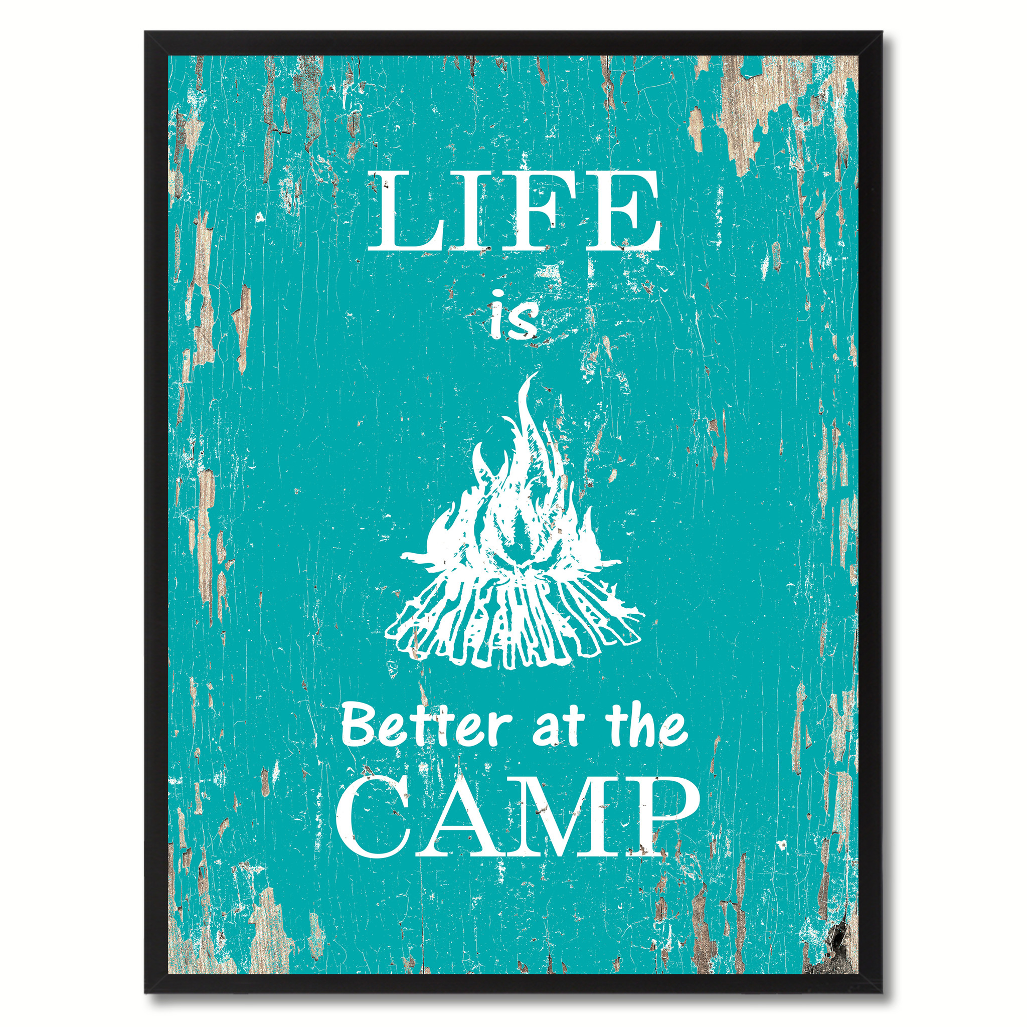 "Life Is Better At The Camp Saying Canvas Print, Black Picture Frame Home Decor Wall Art Gifts - 7""x9\"""