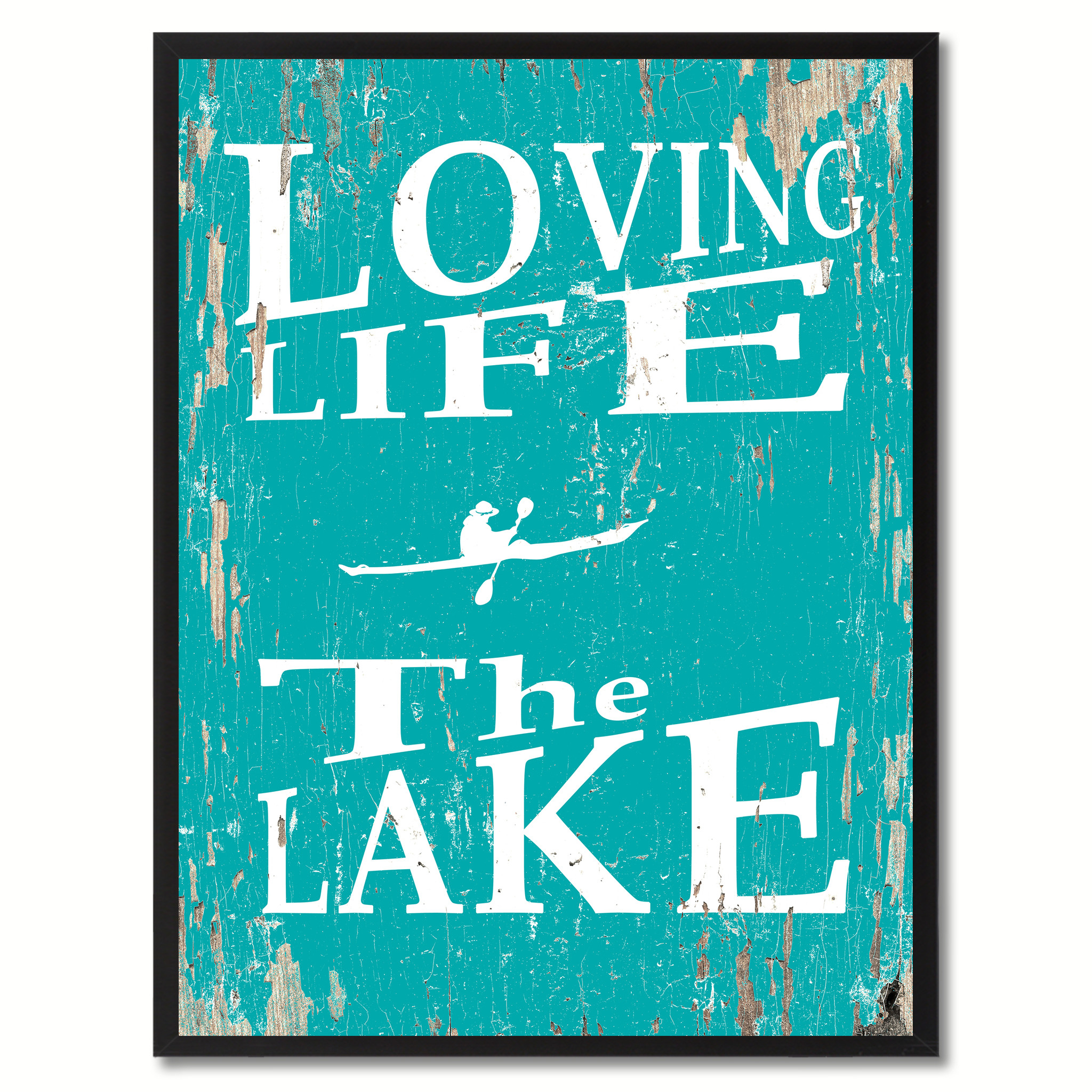 "Loving Life The Lake Saying Canvas Print, Black Picture Frame Home Decor Wall Art Gifts - 7""x9\"""