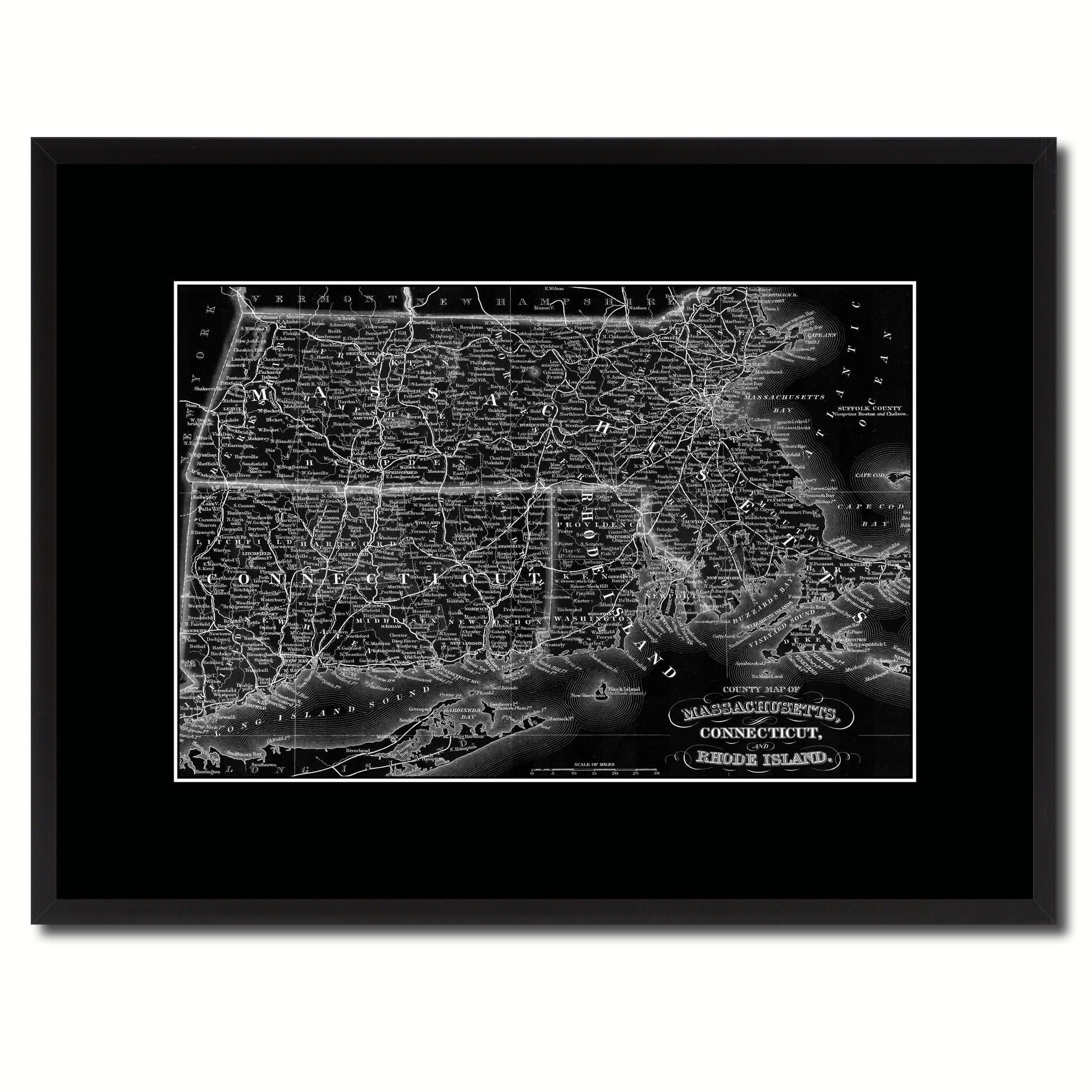 "Massachusetts Connecticut Rhode Island Vintage Monochrome Map Canvas Print, Gifts Picture Frames Home Decor Wall Art - 16"" x 21\"""