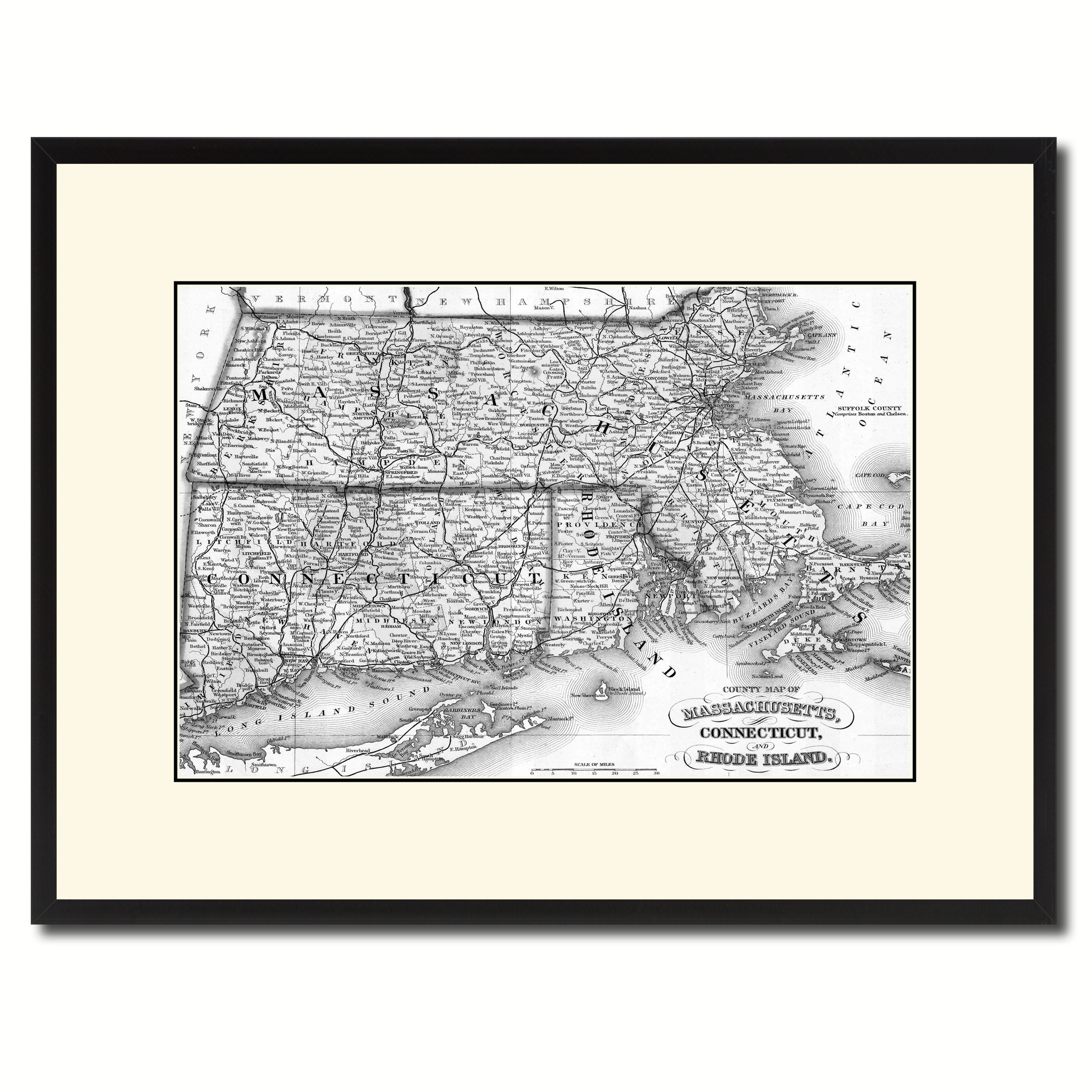 "Massachusetts Connecticut Rhode Island Vintage B&W Map Canvas Print, Picture Frame Home Decor Wall Art Gift Ideas - 16"" x 21\"""