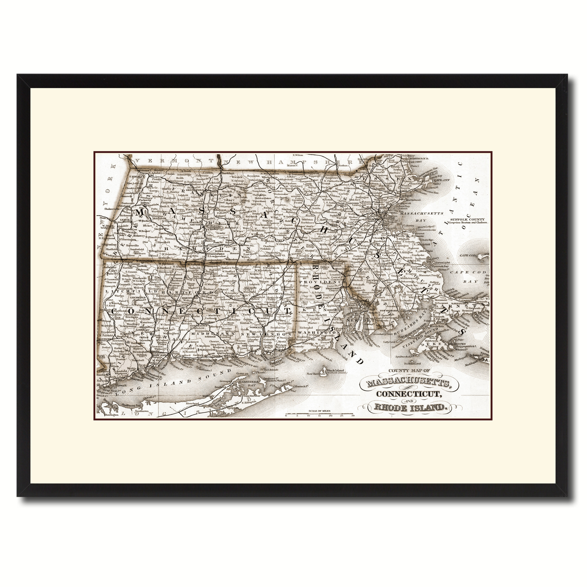 "Massachusetts Connecticut Rhode Island Vintage Sepia Map Canvas Print, Picture Frame Gifts Home Decor Wall Art Decoration - 16"" x 21\"""