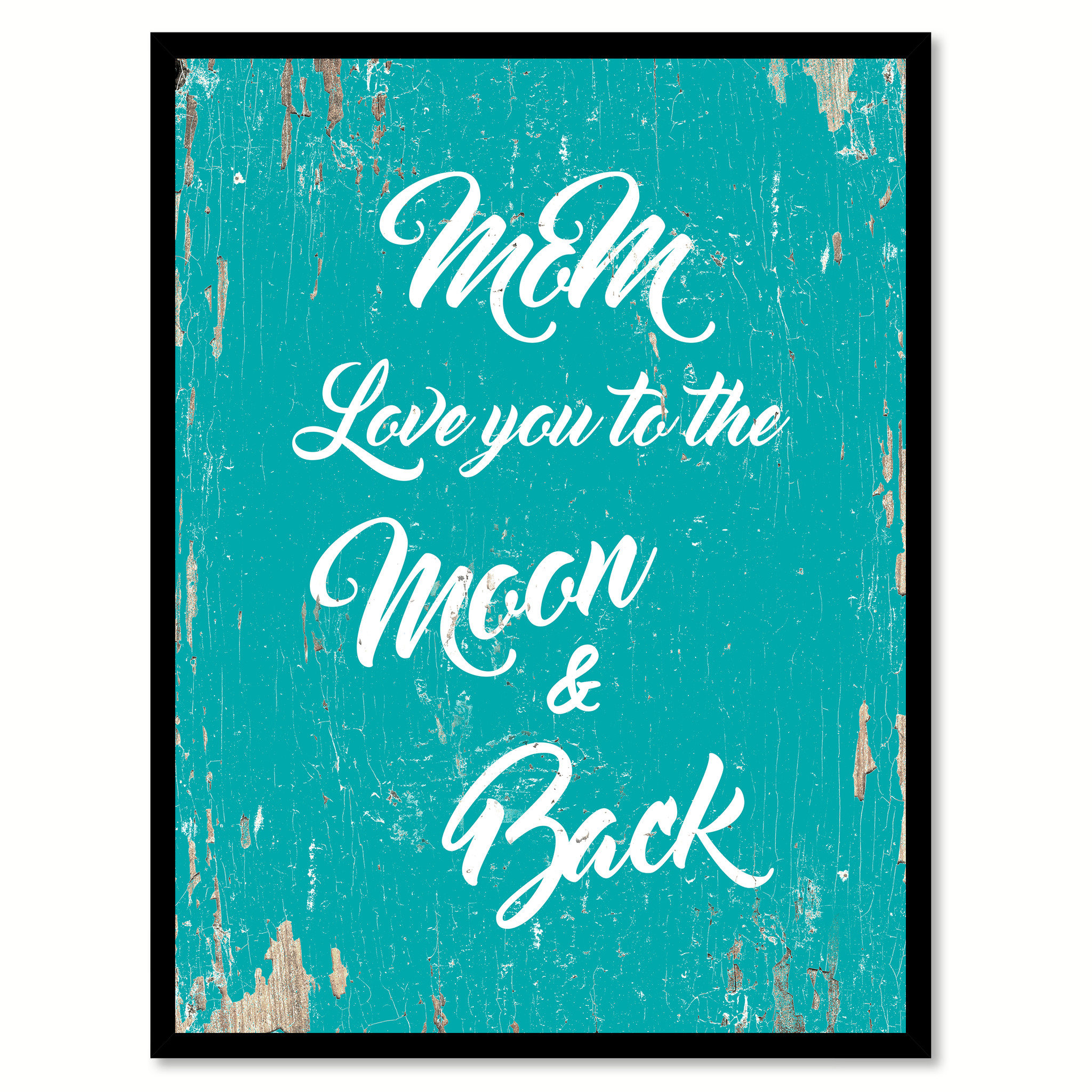 """Mom Love You To The Moon And Back Saying Canvas Print with Picture Frame Home Decor Wall Art Gifts - 7\""""x9\"""""""