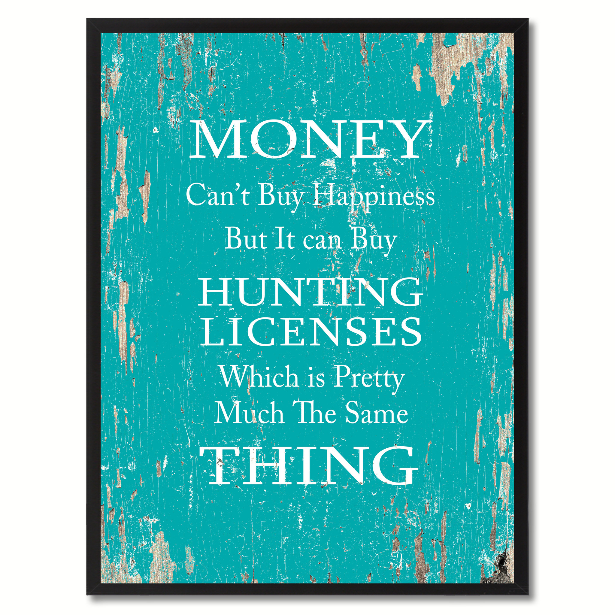 """Money Can't Buy Happiness Saying Canvas Print, Black Picture Frame Home Decor Wall Art Gifts - 7\""""x9\"""""""