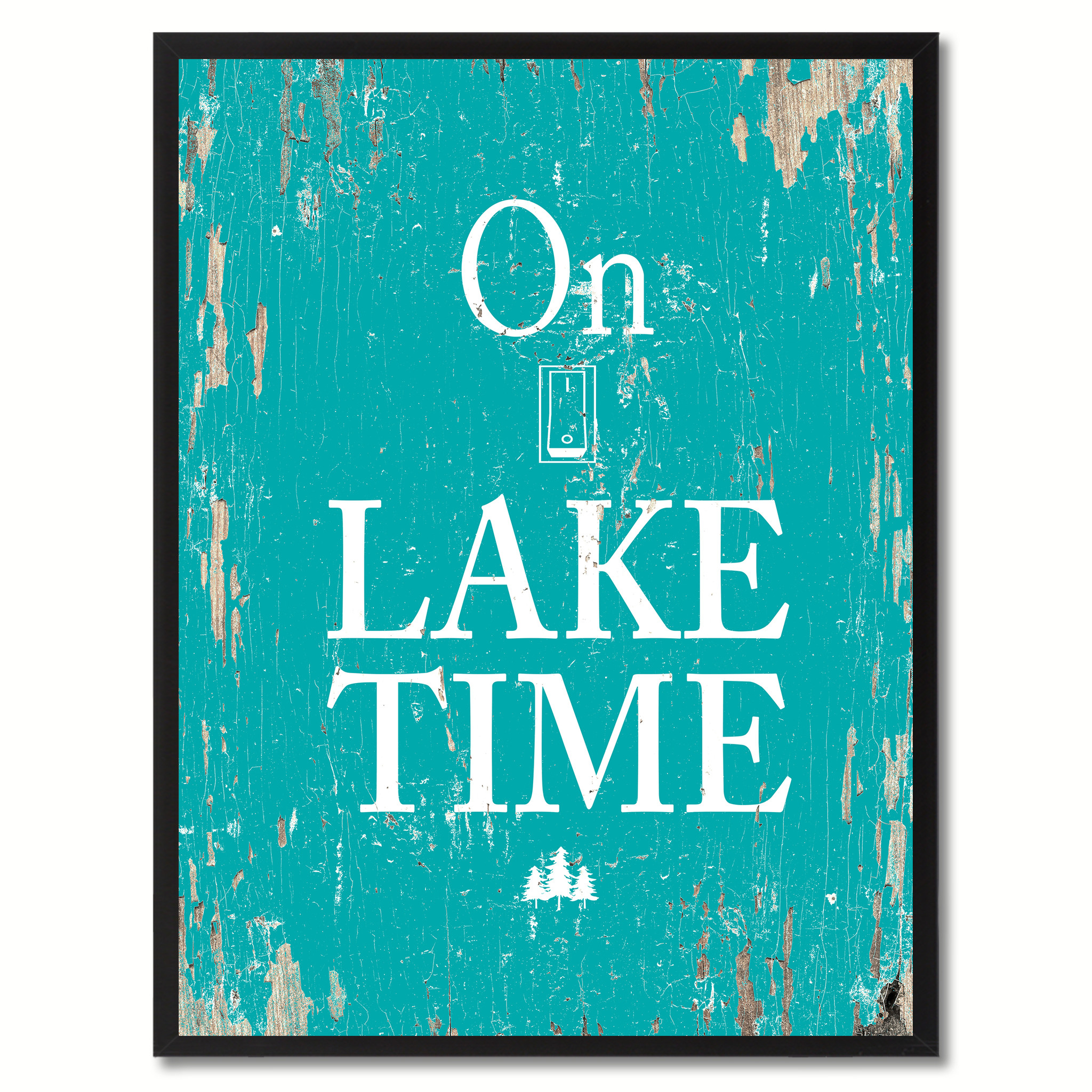 """On Lake Time Saying Canvas Print, Black Picture Frame Home Decor Wall Art Gifts - 7\""""x9\"""""""