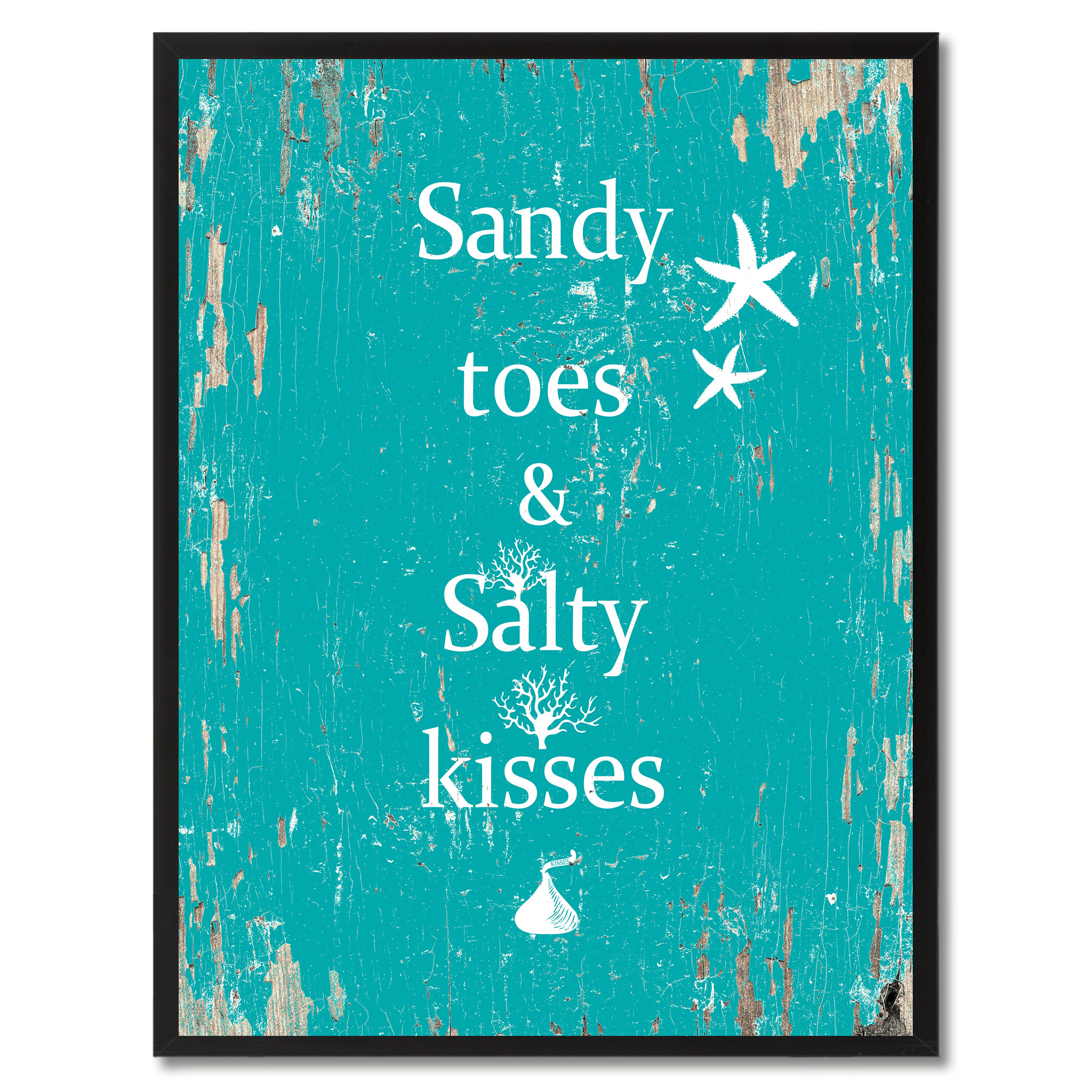 """Sandy Toes & Salty Kisses Saying Canvas Print, Black Picture Frame Home Decor Wall Art Gifts - 7\""""x9\"""""""
