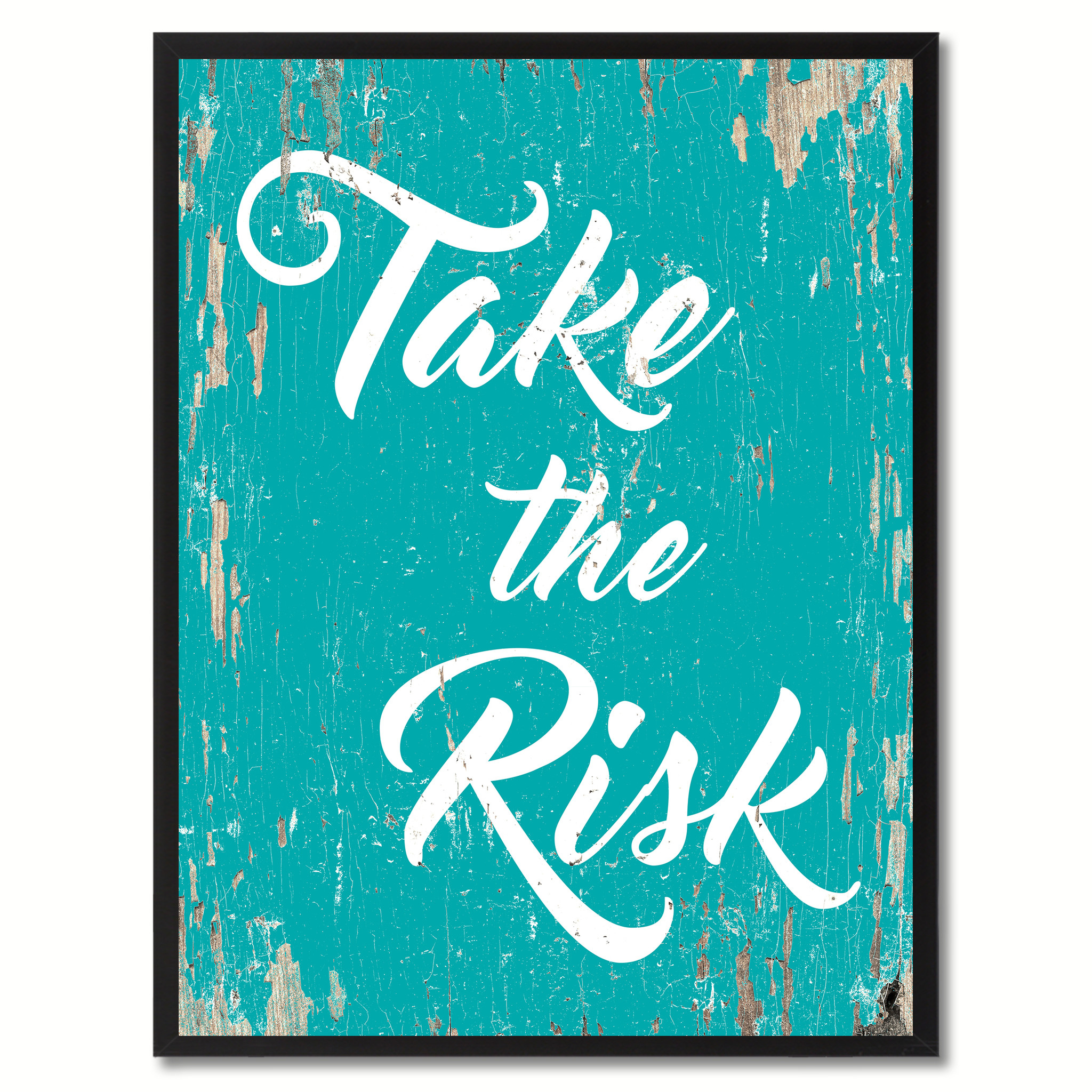 "Take The Risk Saying Canvas Print, Black Picture Frame Home Decor Wall Art Gifts - 7""x9\"""