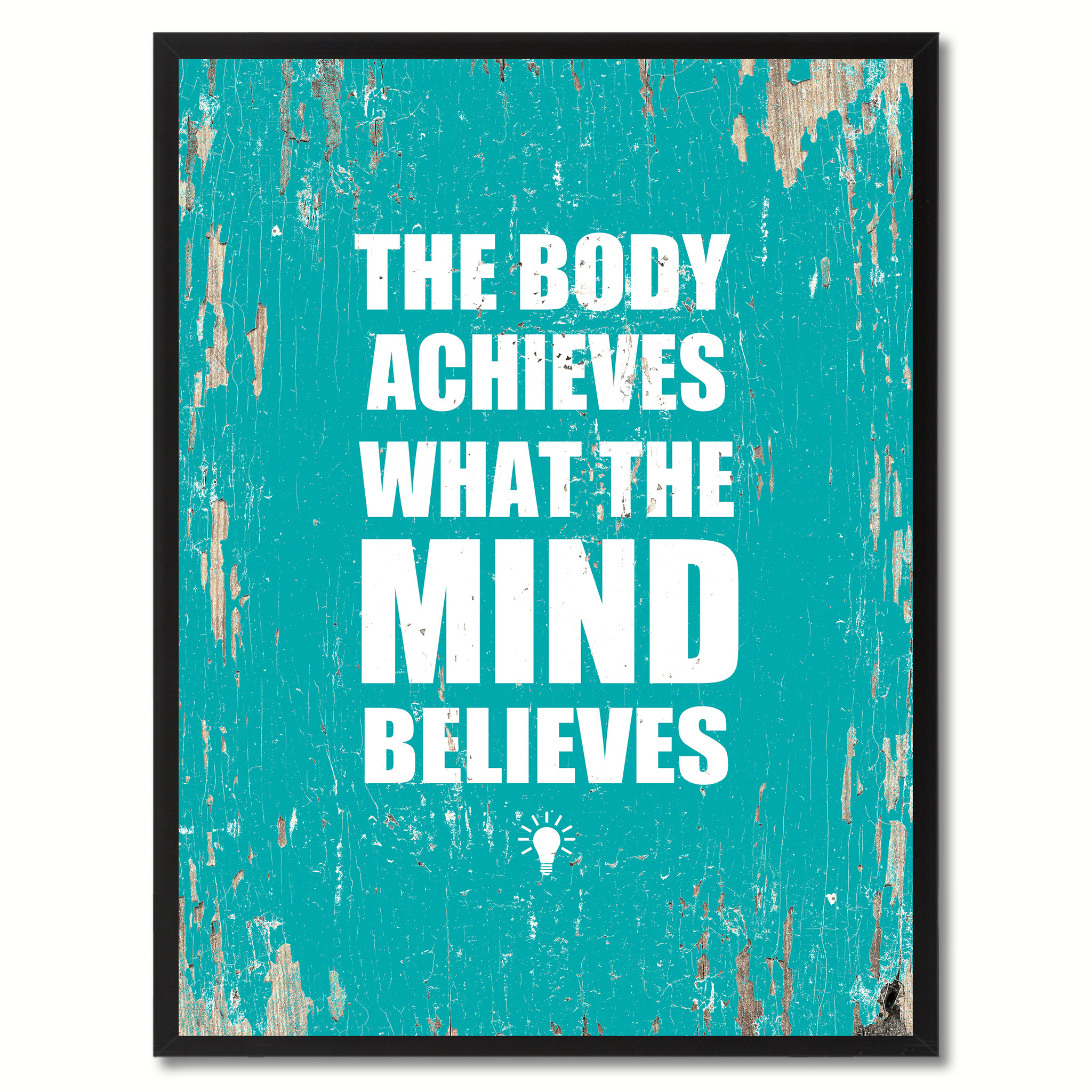 """The Body Achieves What The Mind Believes Saying Canvas Print, Black Picture Frame Home Decor Wall Art Gifts - 7\""""x9\"""""""