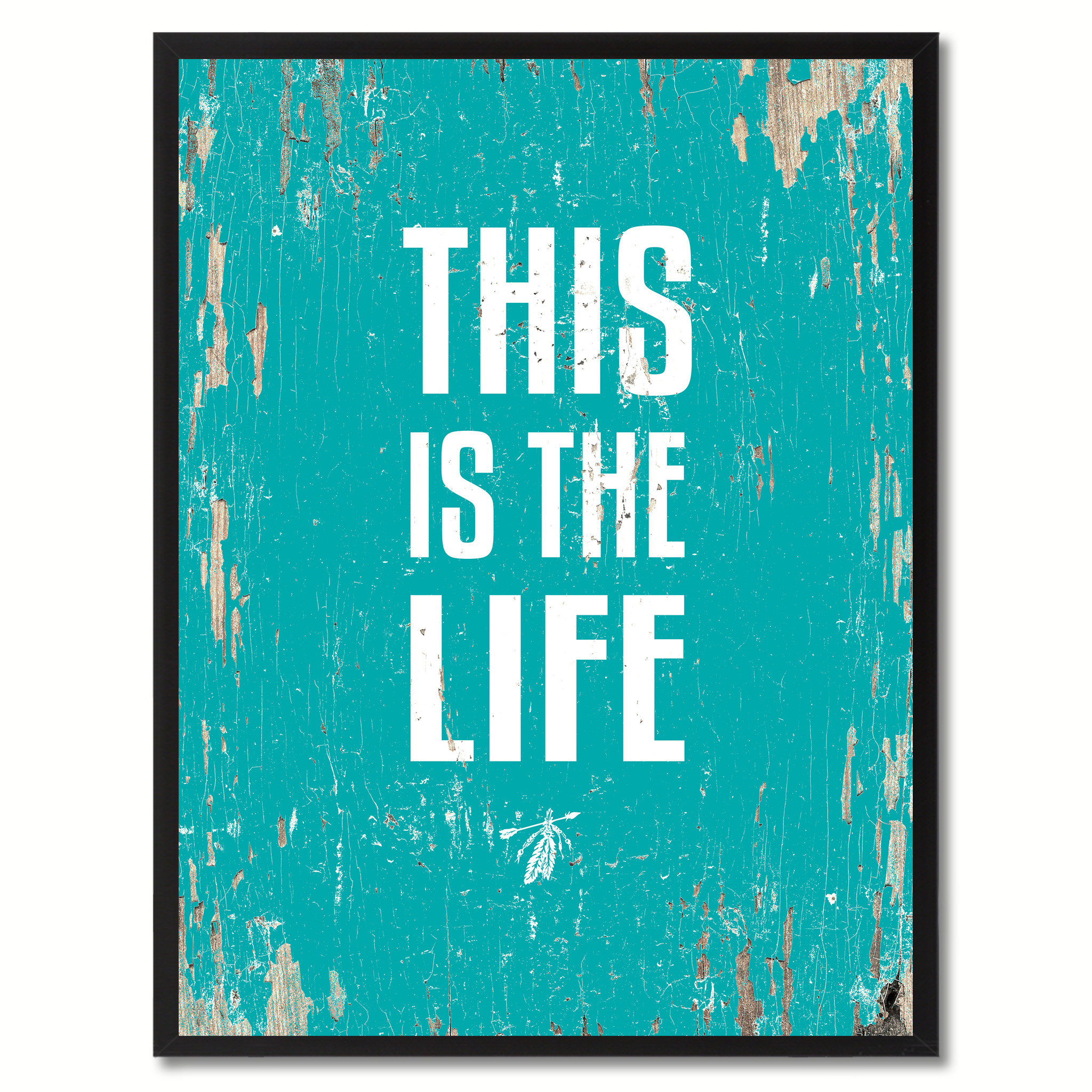 "This Is The Life Saying Canvas Print, Black Picture Frame Home Decor Wall Art Gifts - 7""x9\"""