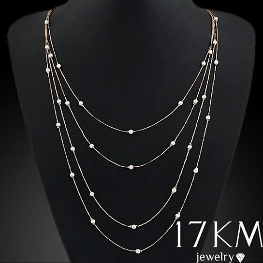 Fashion Gold Chain Multilayer Pearl Necklace