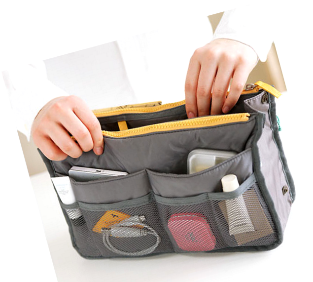 Practical Handbag Purse Nylon Dual Organizer Insert Cosmetic Storage B (shopmania-D2D5) photo