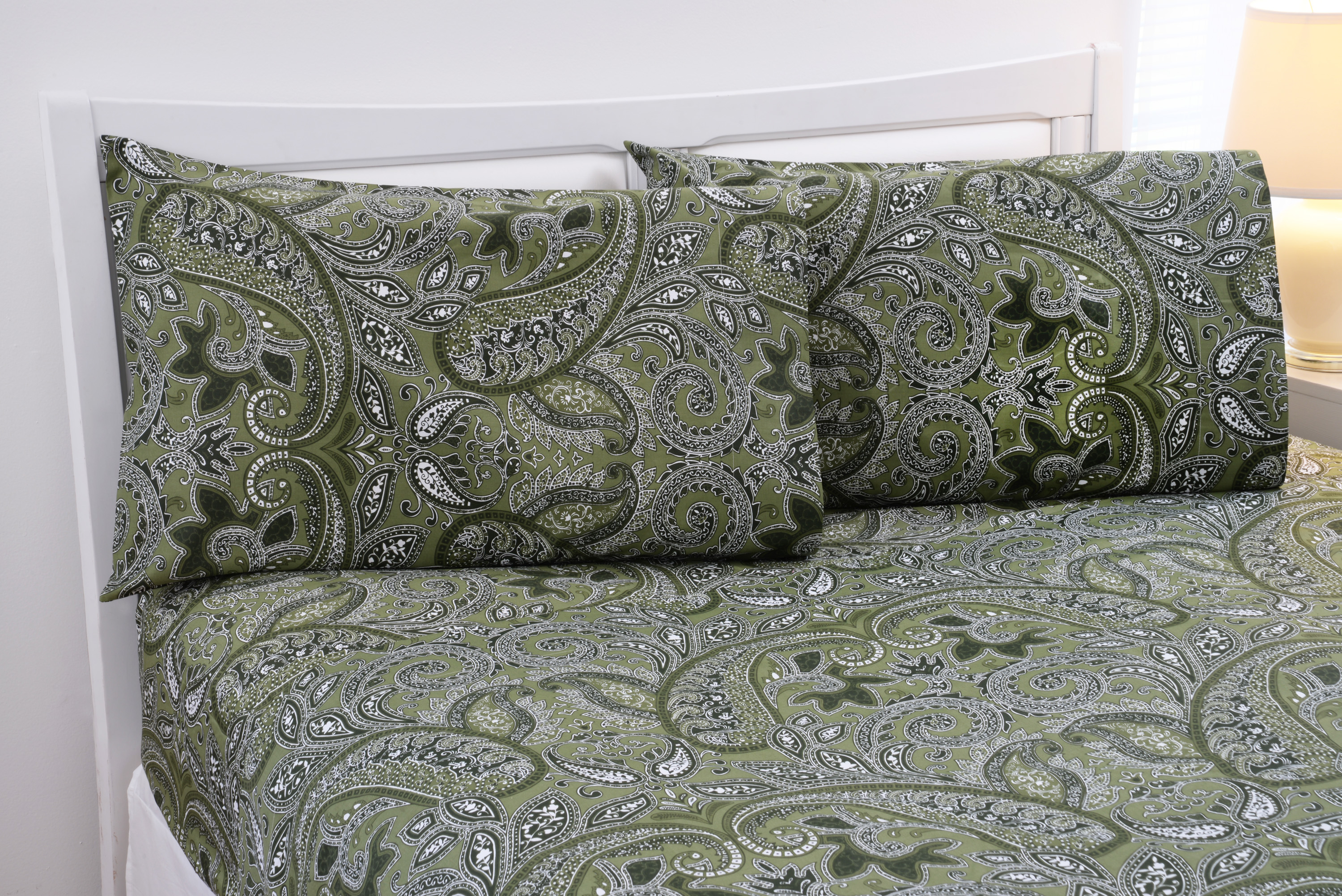 Paisley Collection 500 Thread Count Printed Egyptian Cotton Sheet Set - 5 Colors - Queen, Sage